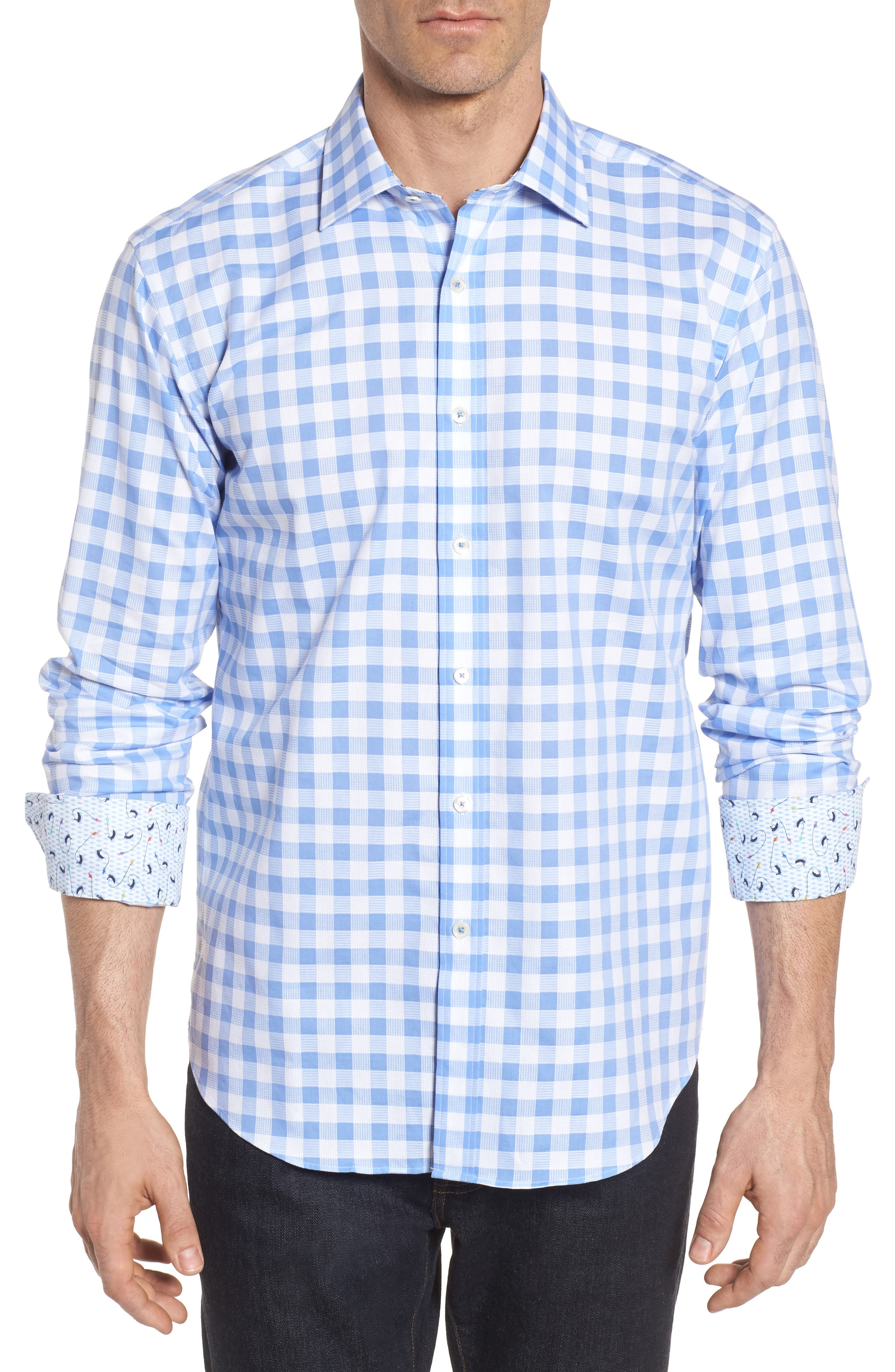 Shaped Fit Check Sport Shirt,                         Main,                         color, Sky