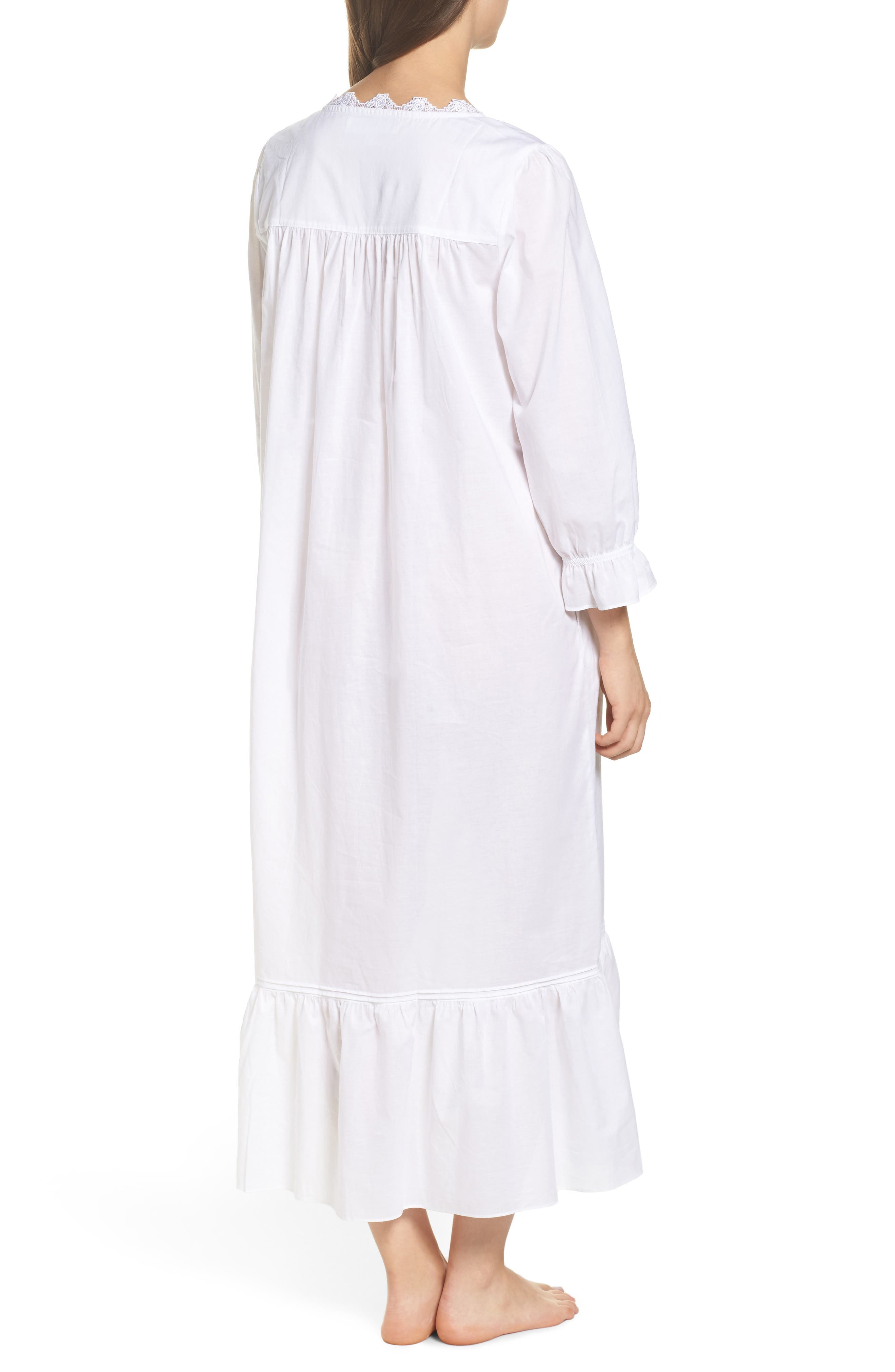 Button Front Cotton Nightgown,                             Alternate thumbnail 2, color,                             Solid White