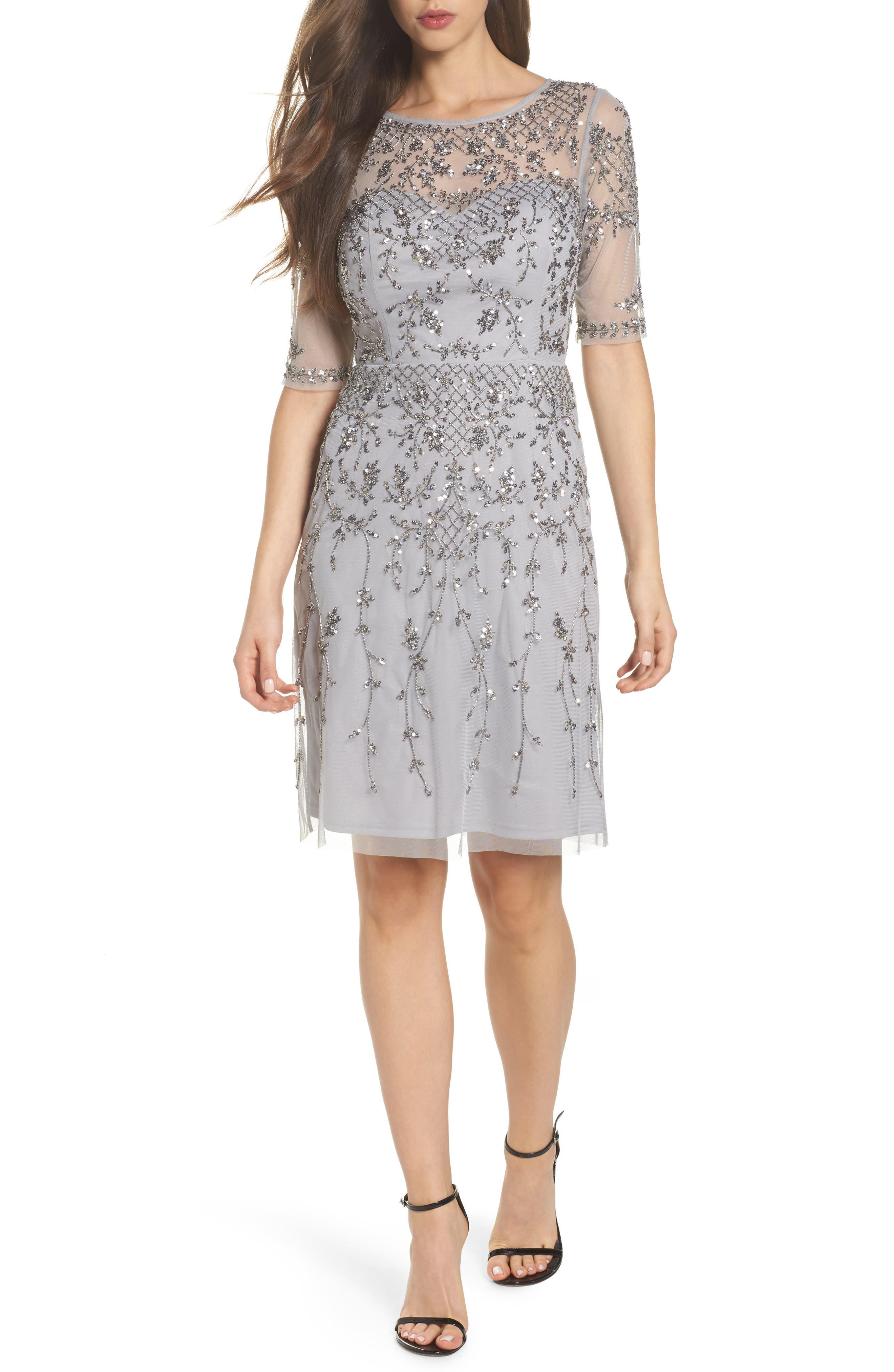 Embellished Fit & Flare Dress,                             Main thumbnail 1, color,                             Bridal Silver