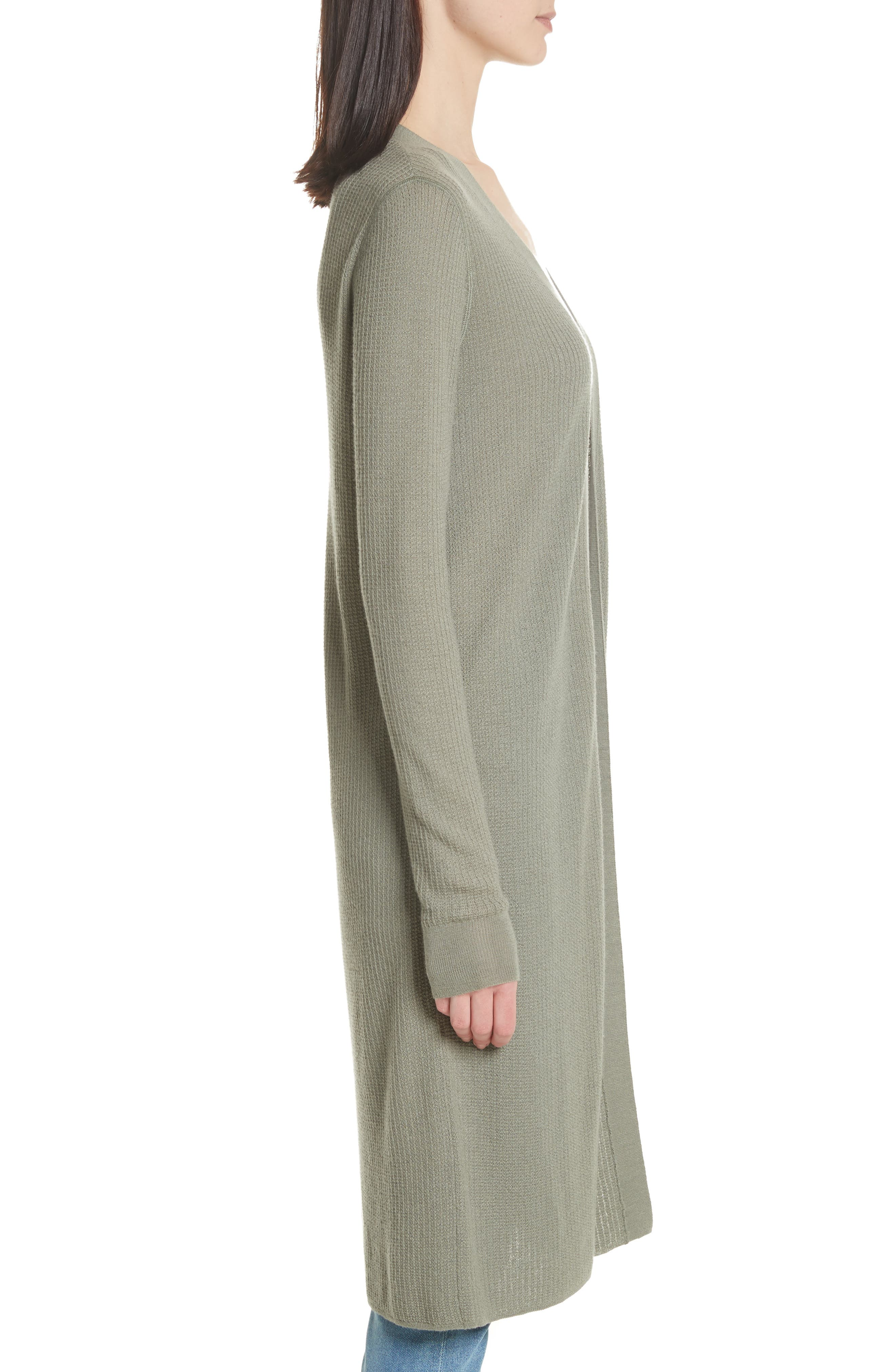 Torina Long Cashmere Cardigan,                             Alternate thumbnail 3, color,                             Faded Army