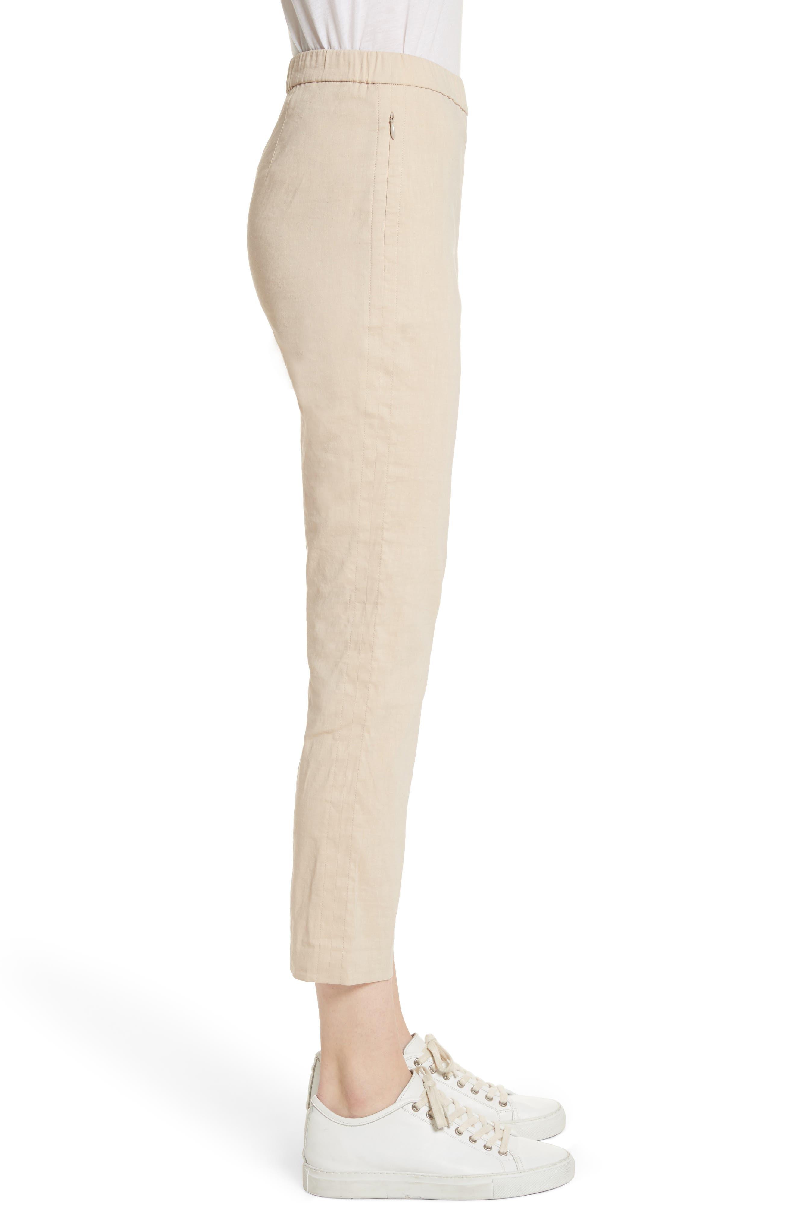 Pull-On Linen Blend Pants,                             Alternate thumbnail 4, color,                             Light Wheat