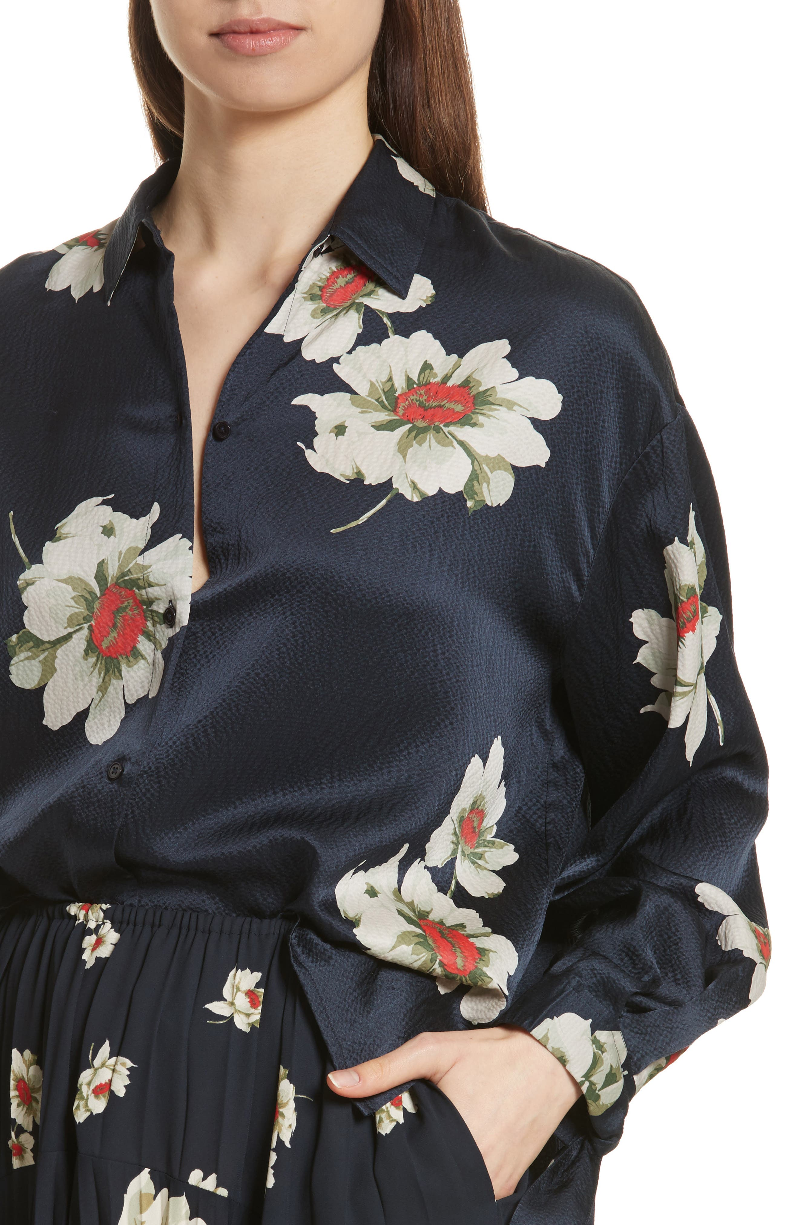 Gardenia Floral Silk Blouse,                             Alternate thumbnail 4, color,                             Coastal