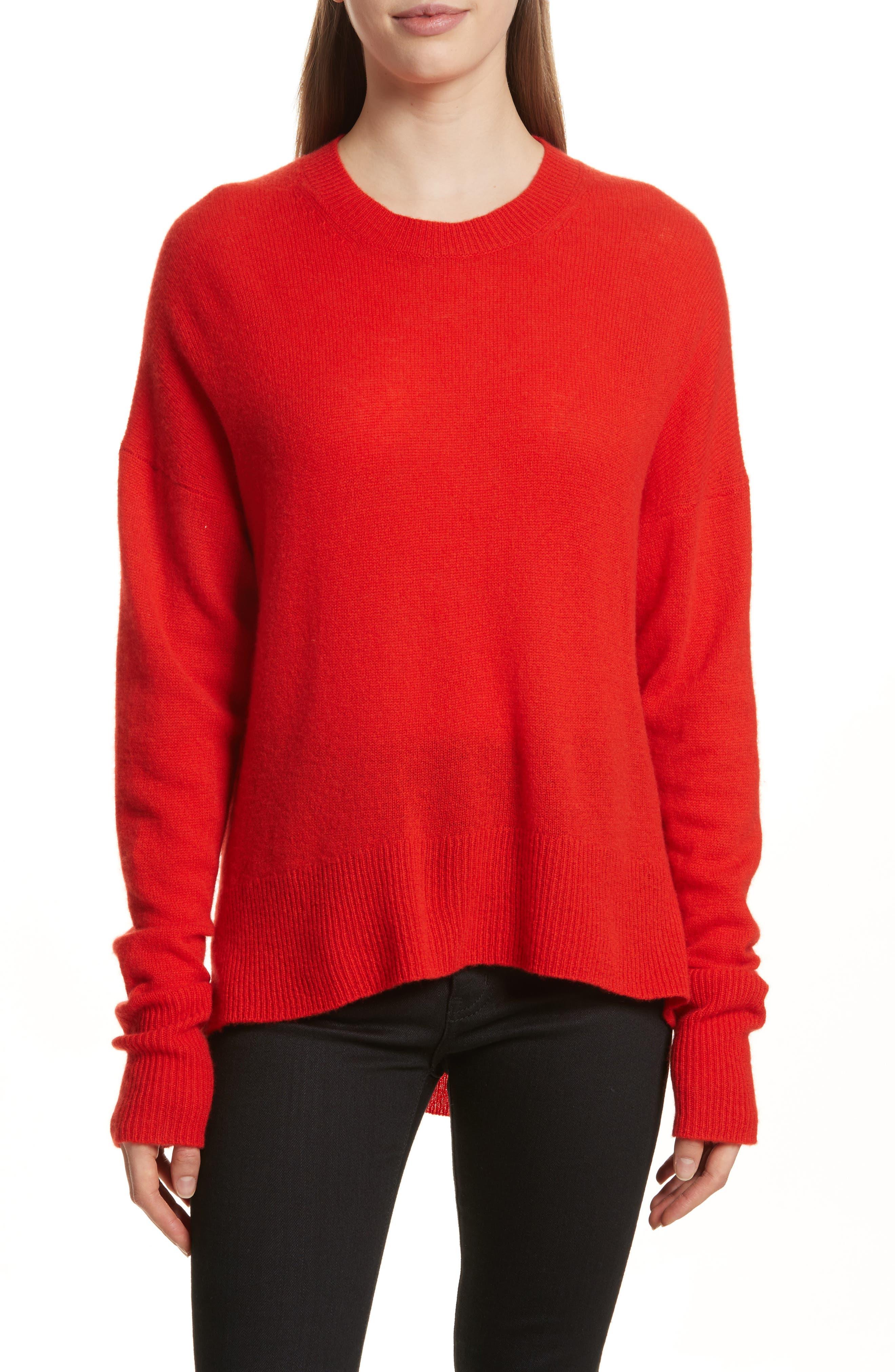 Karenia L Cashmere Sweater,                             Main thumbnail 1, color,                             Bight Tomato