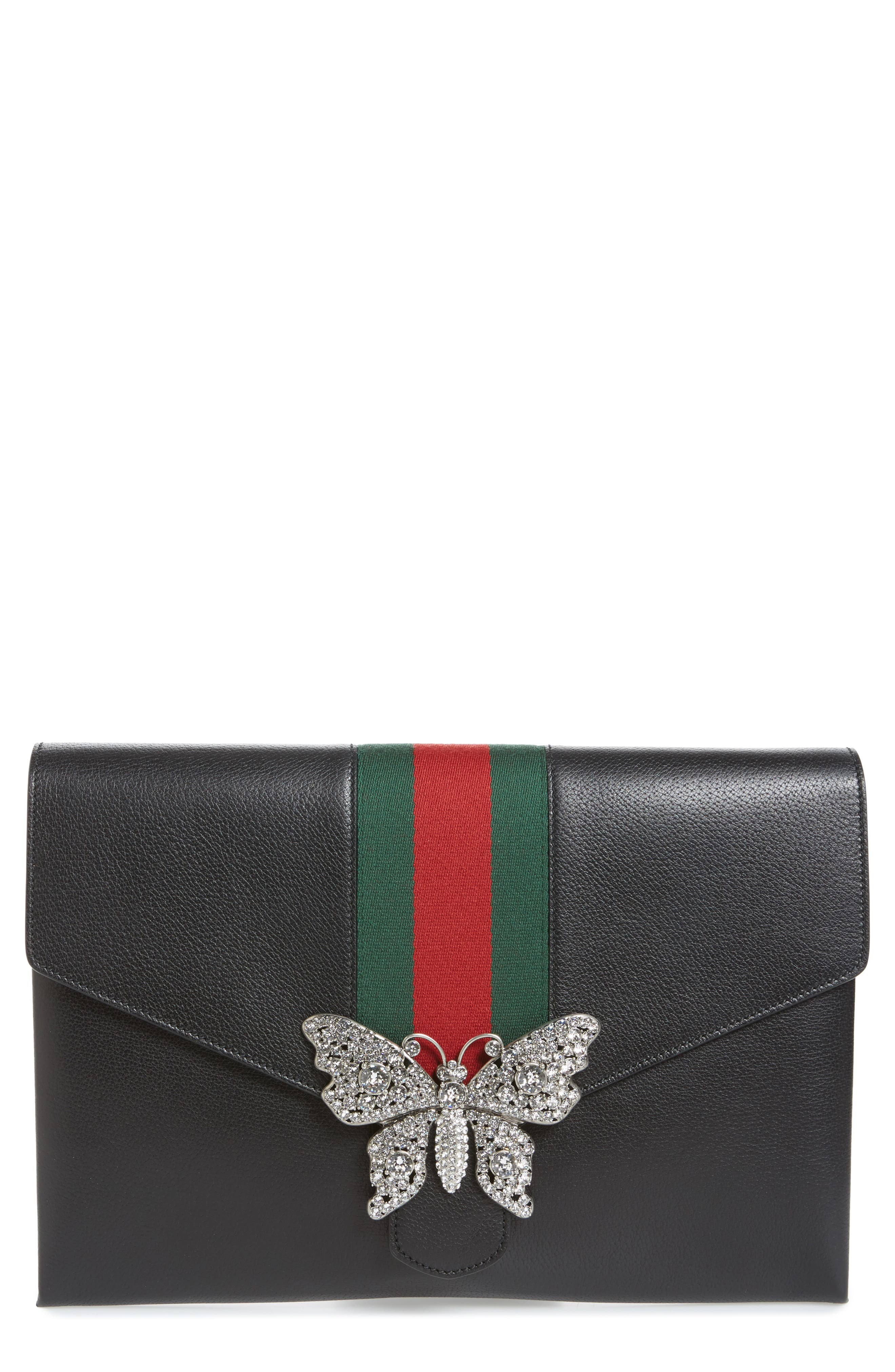 Main Image - Gucci Totem Crystal Embellished Butterfly Leather Clutch