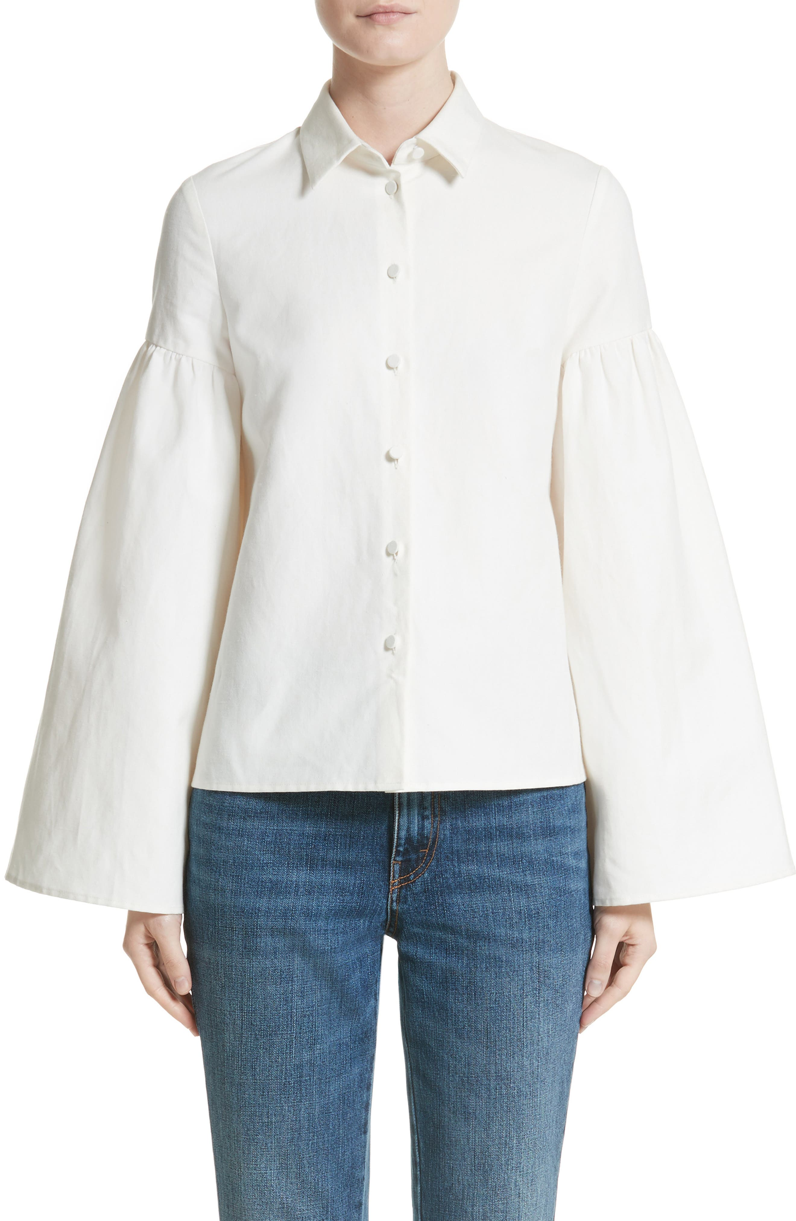 Linen & Cotton Puff Sleeve Top,                             Main thumbnail 1, color,                             Ivory