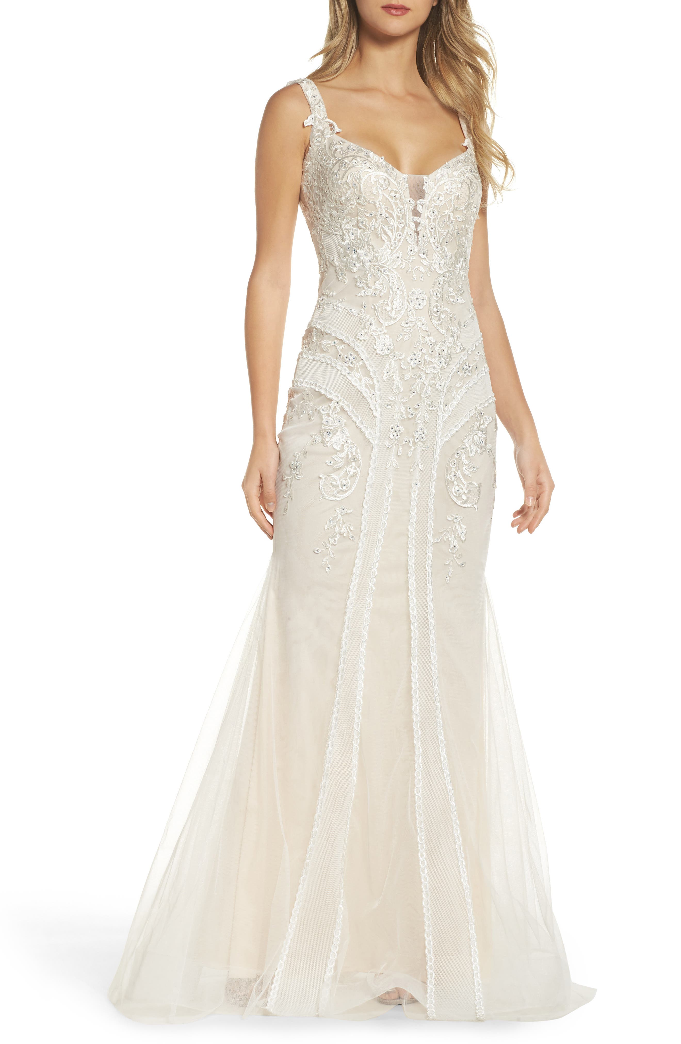 Embroidered Mermaid Gown,                             Main thumbnail 1, color,                             Ivory