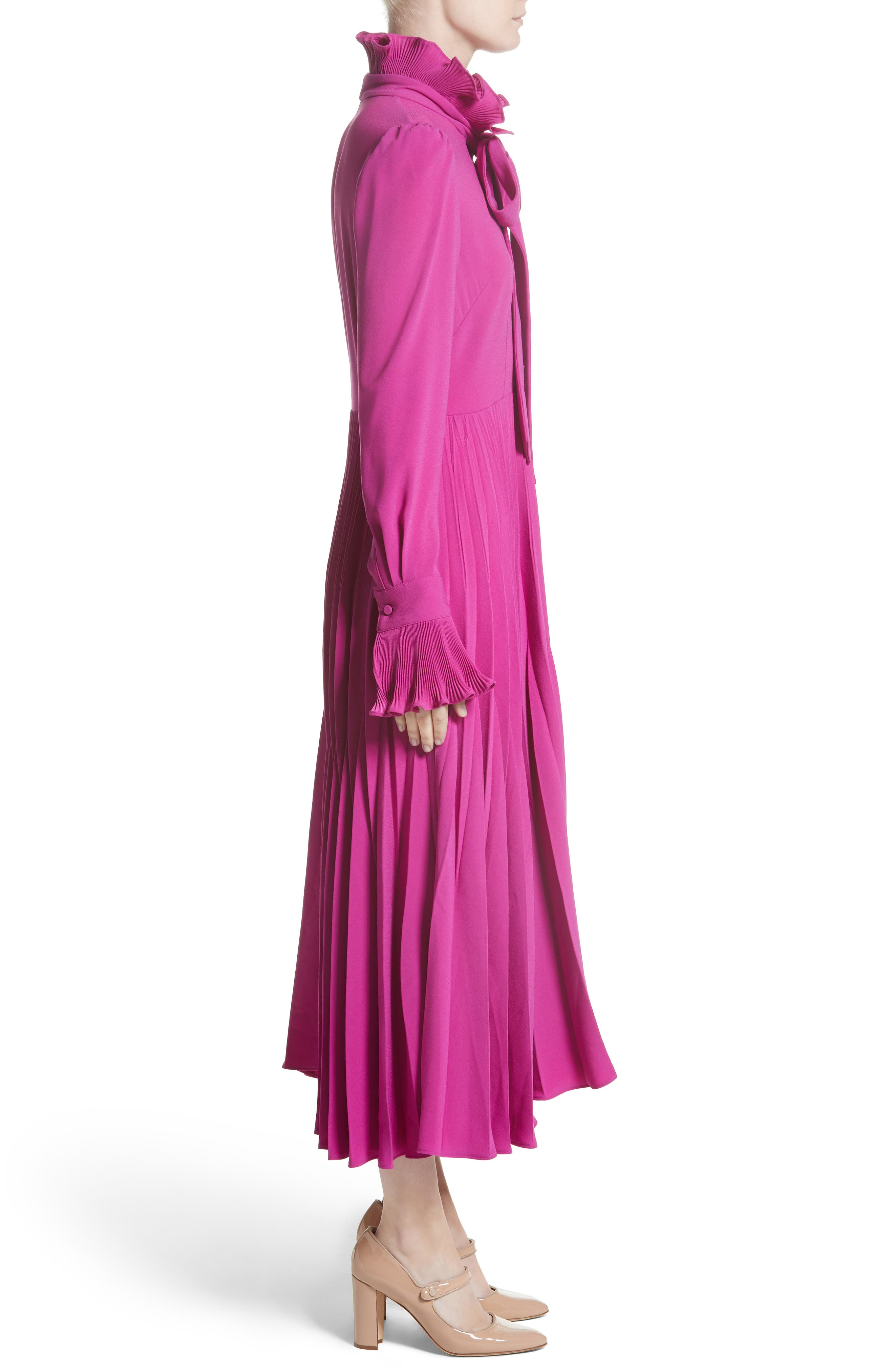 Ruffle & Pleated Midi Dress,                             Alternate thumbnail 4, color,                             Magenta