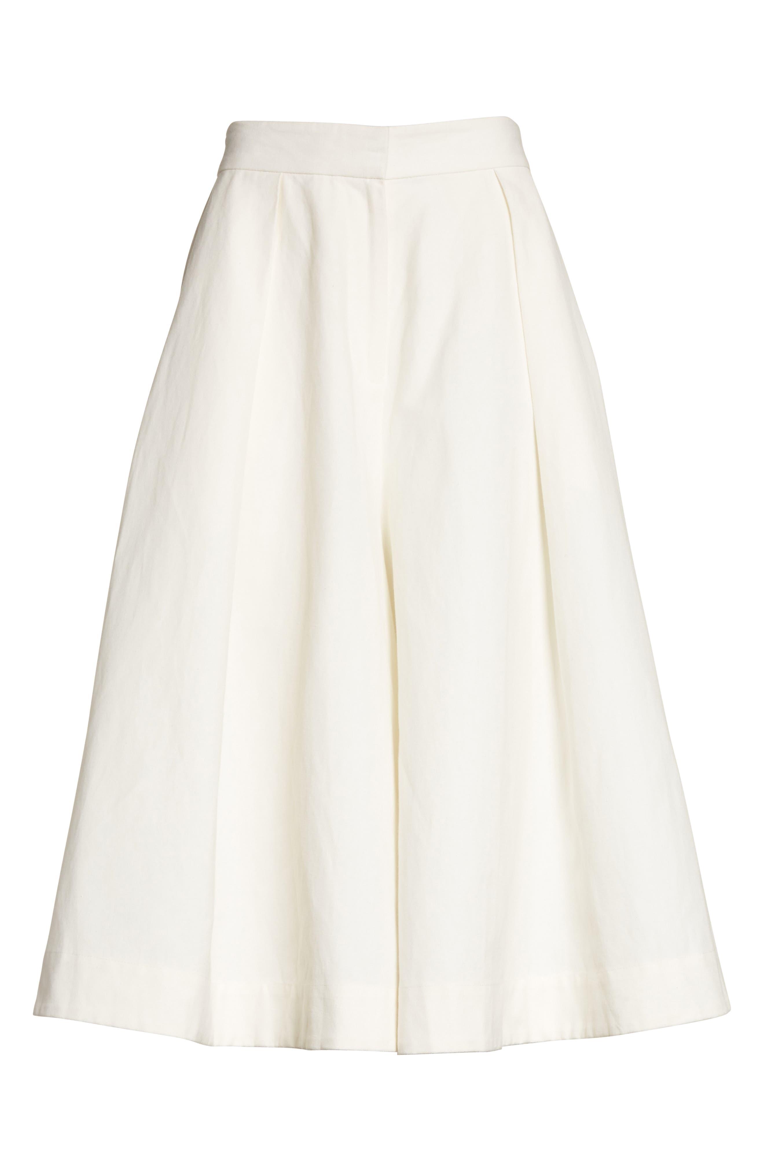 Linen & Cotton Crop Wide Leg Pants,                             Alternate thumbnail 8, color,                             Ivory