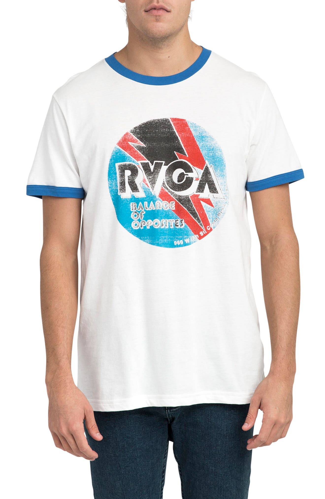 Volt Graphic Ringer T-Shirt,                             Main thumbnail 1, color,                             White/ Royal
