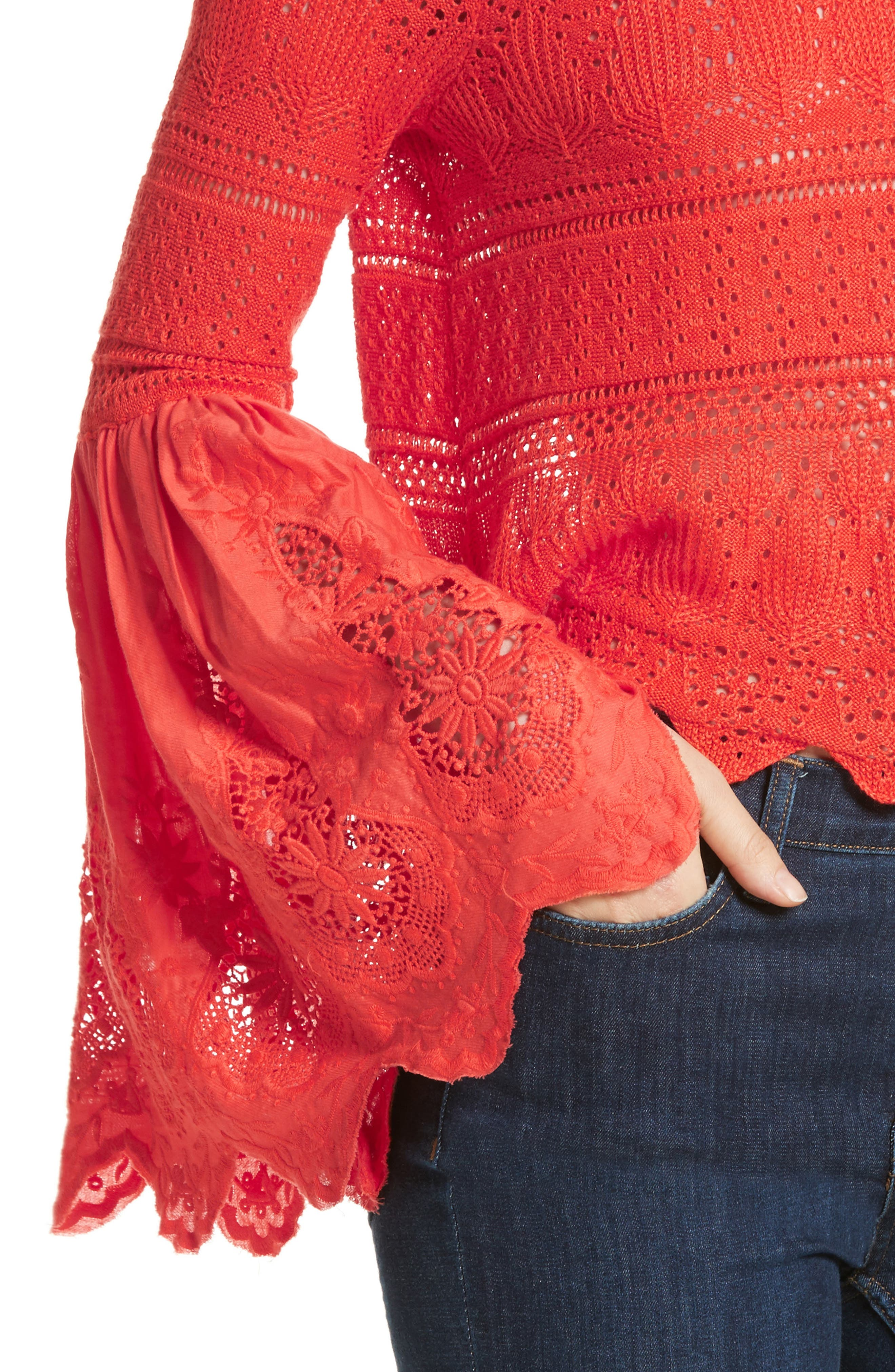 Once Upon a Time Lace Top,                             Alternate thumbnail 4, color,                             Red