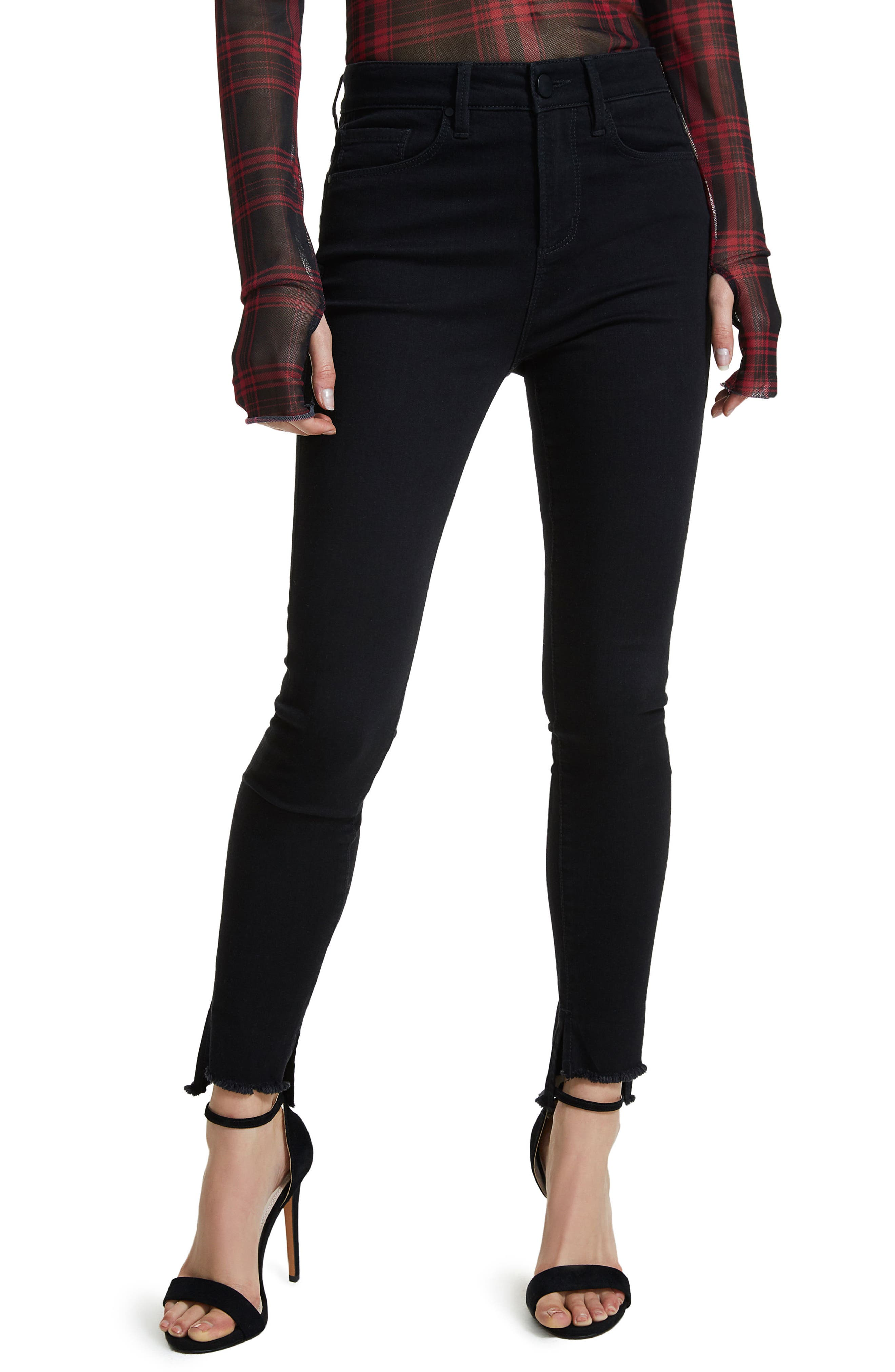 Jayden Stagger Hem Skinny Jeans,                             Main thumbnail 1, color,                             Noir