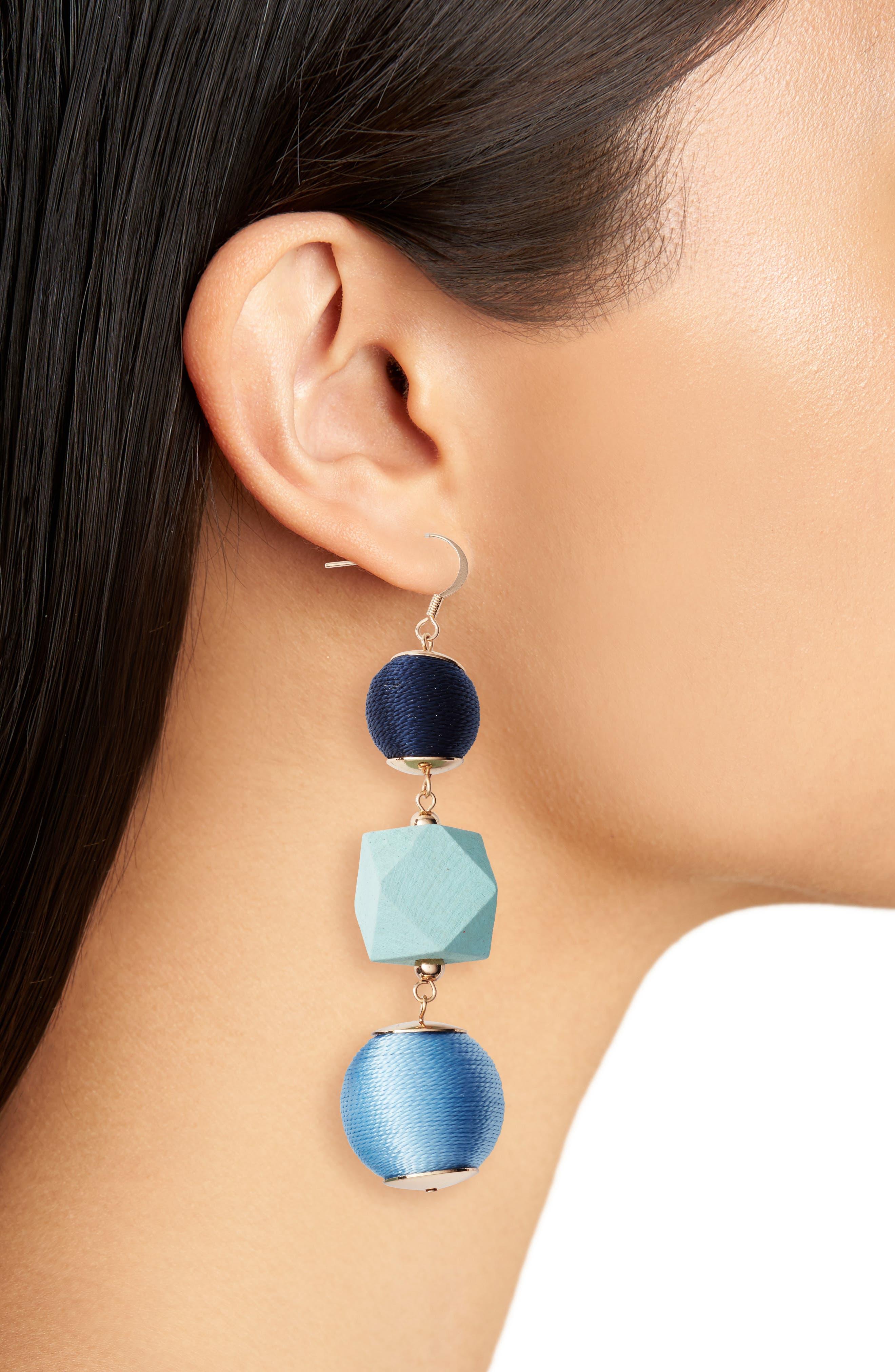 Geo Sphere Drop Earrings,                             Alternate thumbnail 2, color,                             Blue Multi