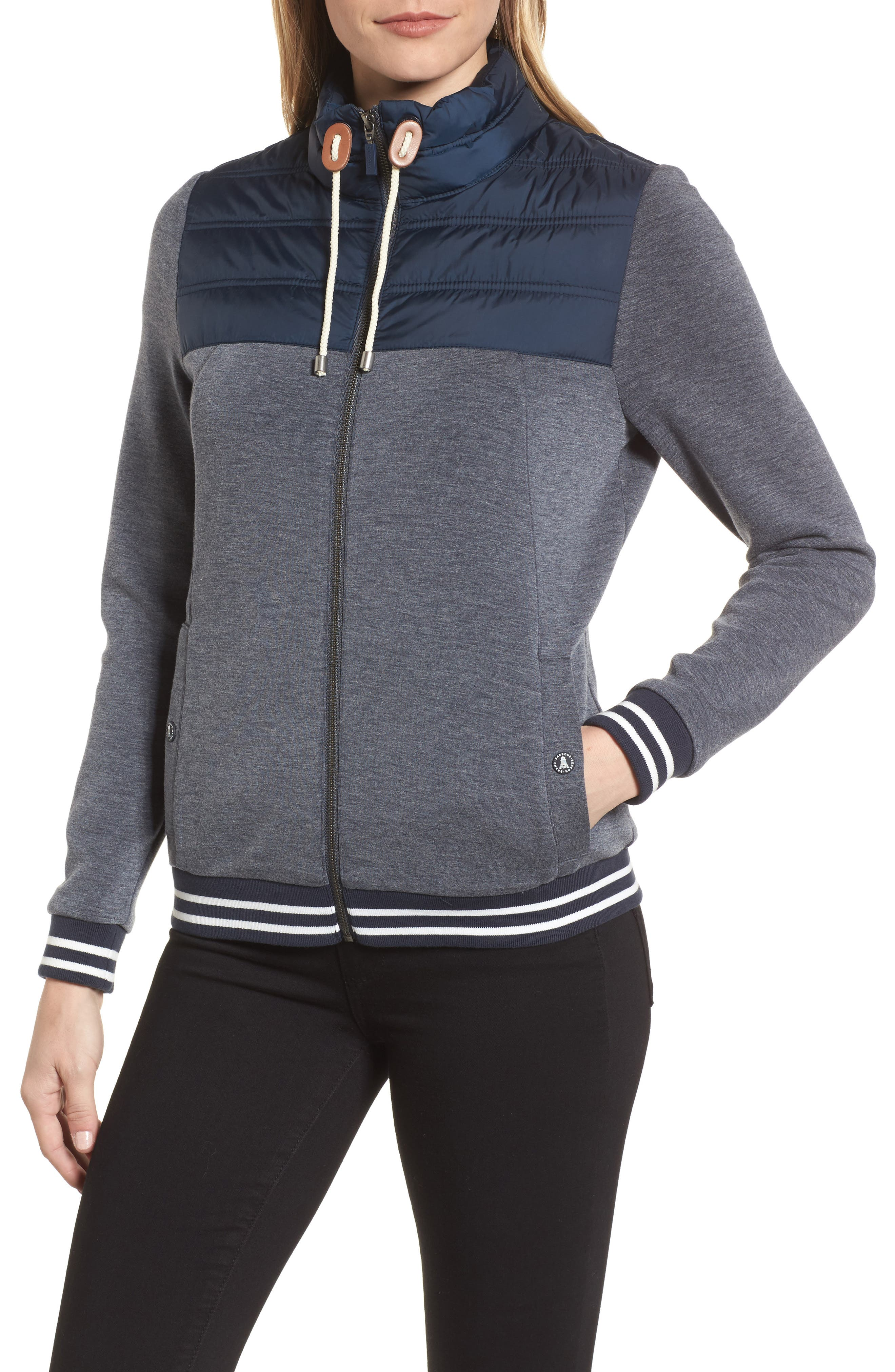 Selsey Zip Sweater,                             Alternate thumbnail 4, color,                             Navy Marl