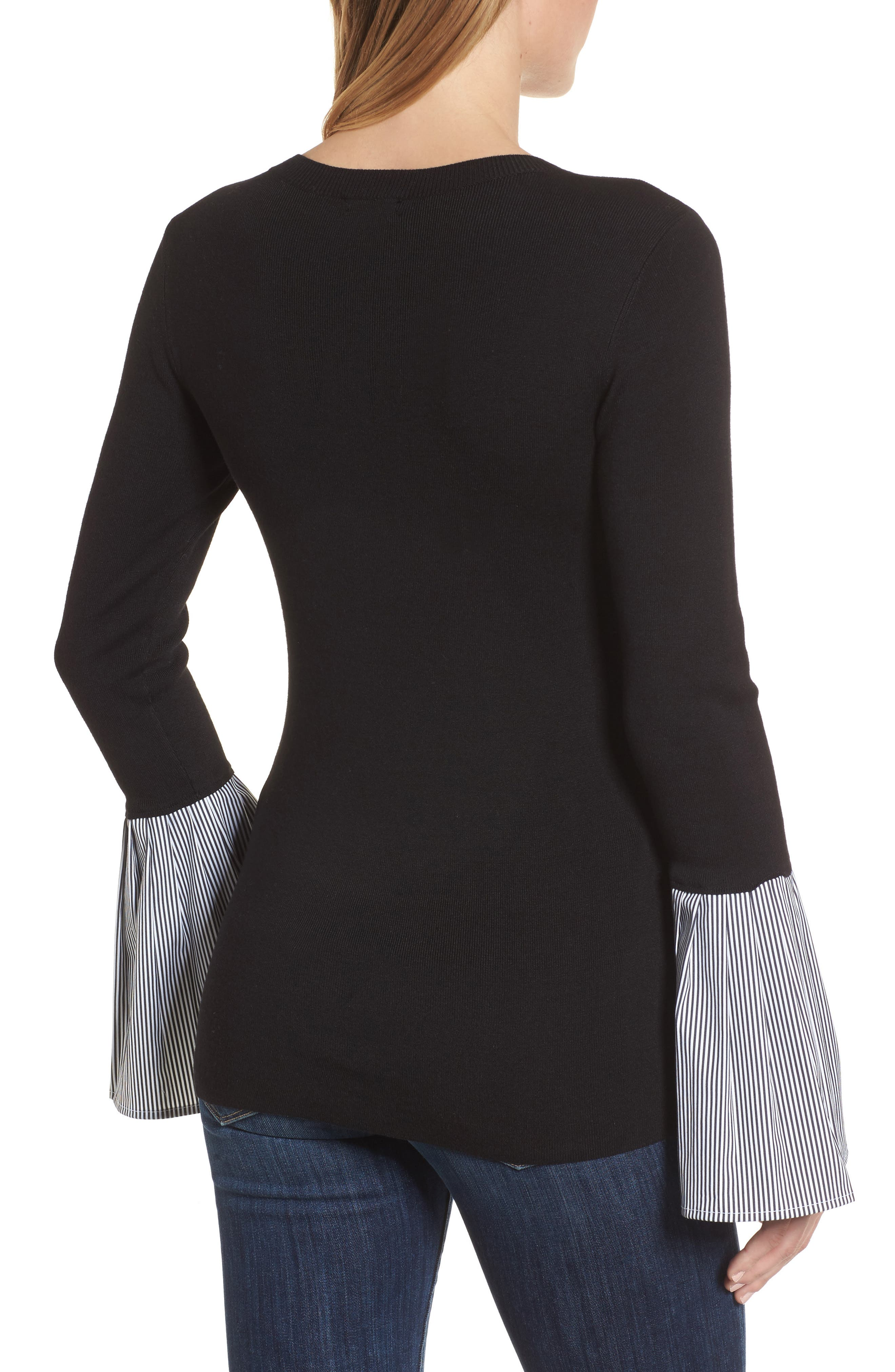 Poplin Bell Cuff Sweater,                             Alternate thumbnail 2, color,                             Black