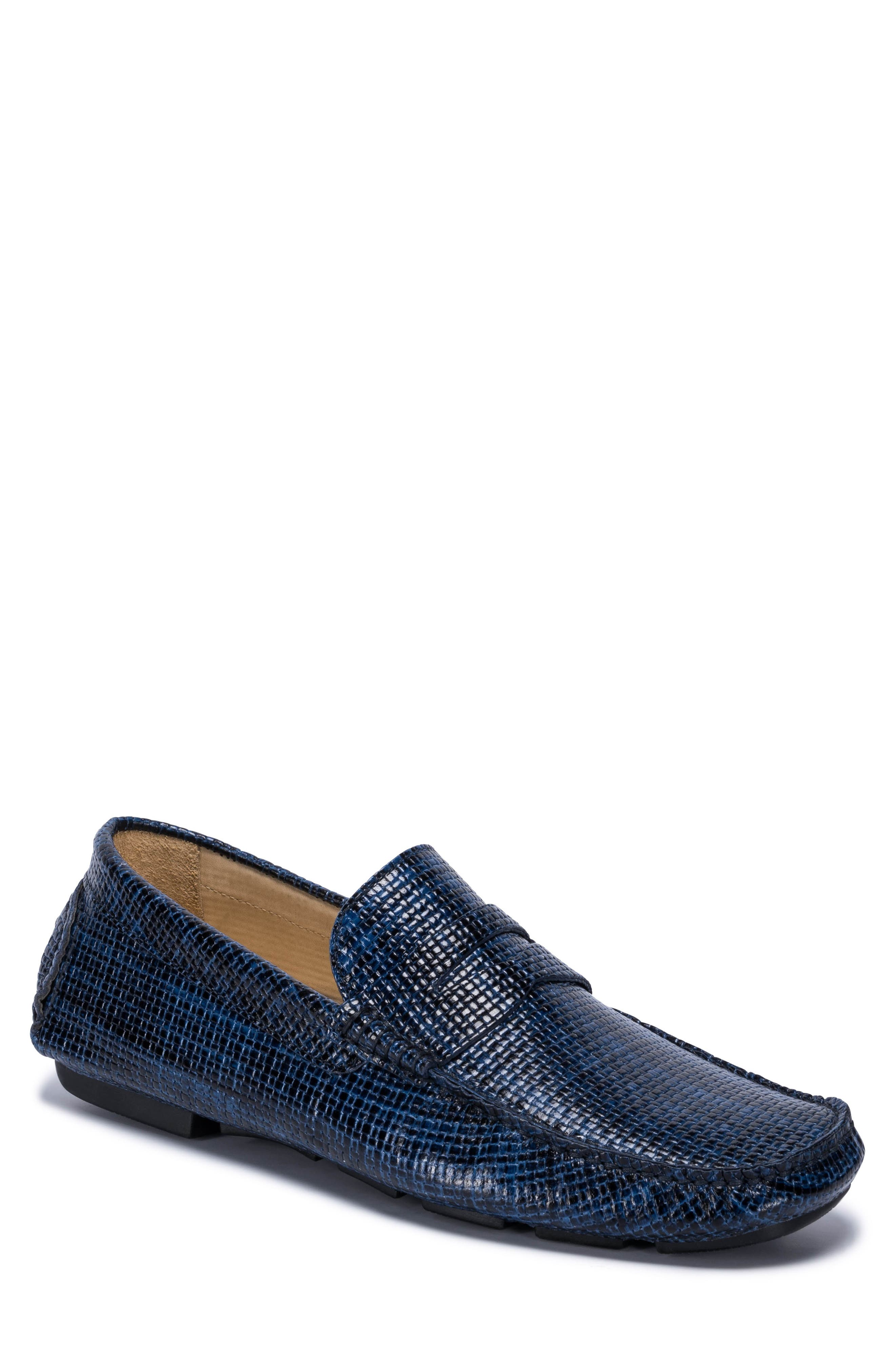 Montalcino Driving Penny Loafer,                         Main,                         color, Blue Leather