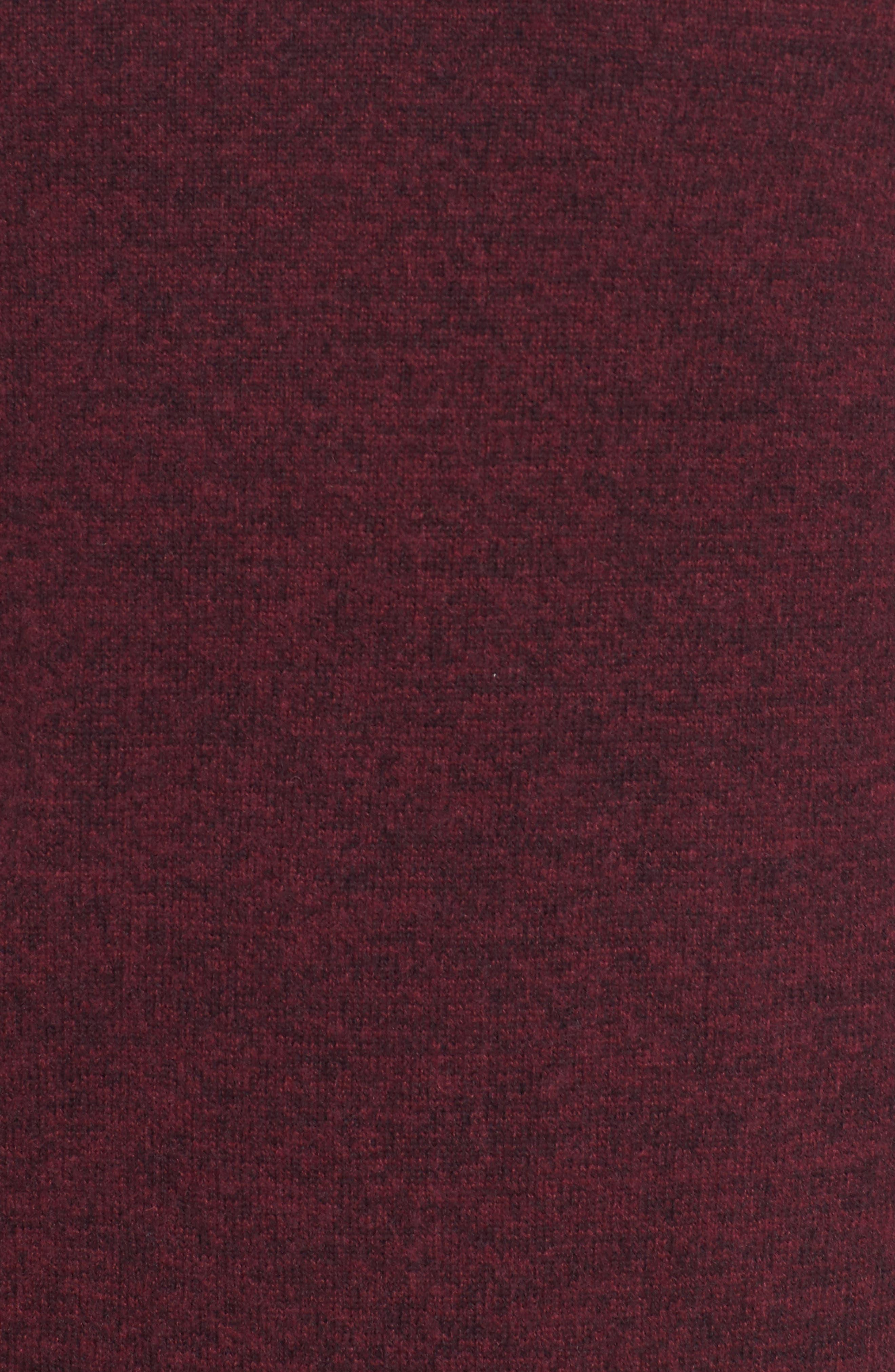 Boiled Wool Blend Crewneck Sweater,                             Alternate thumbnail 5, color,                             Burgundy Stem