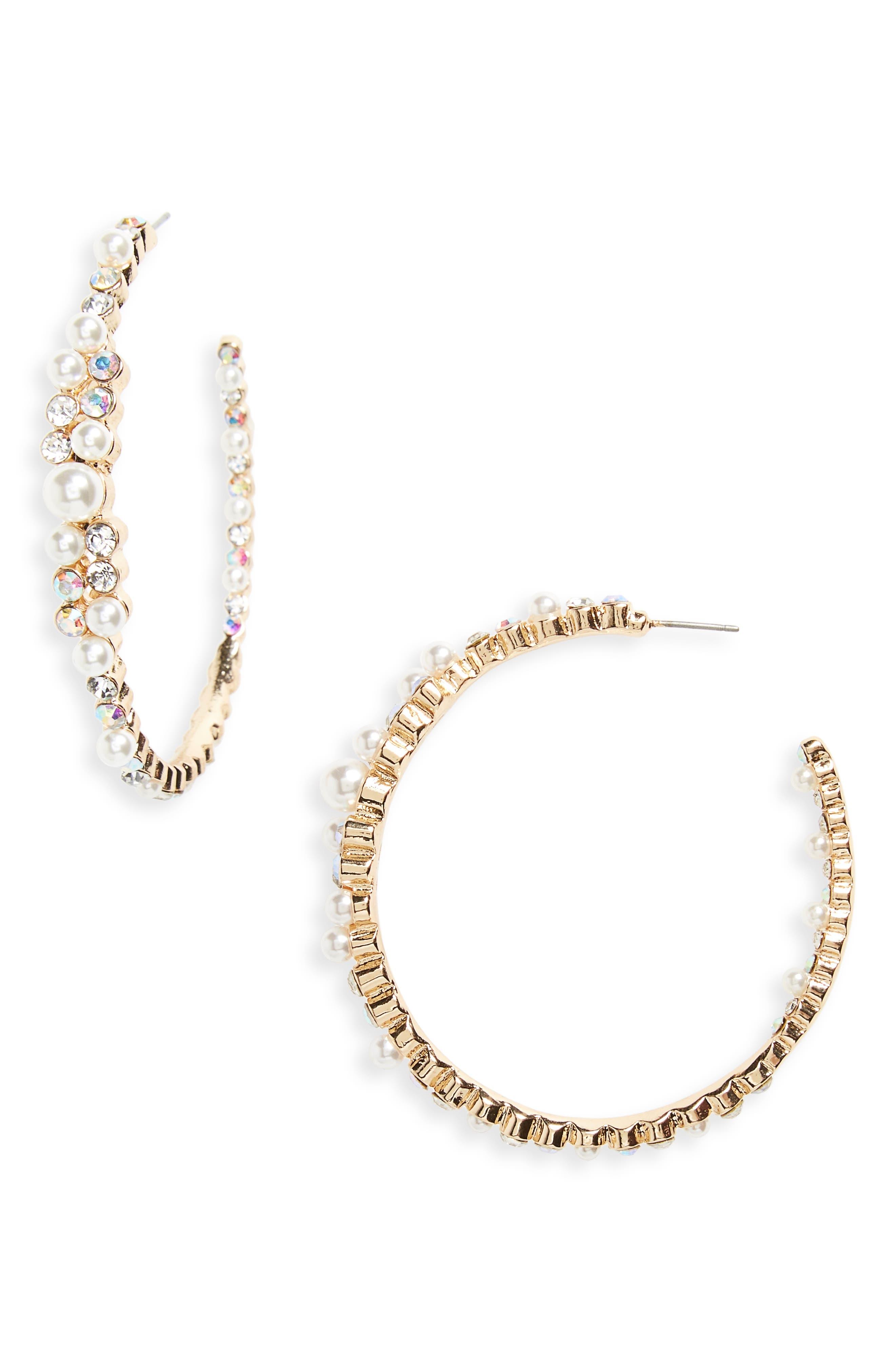 Imitation Pearl & Crystal Hoop Earrings,                         Main,                         color, Gold/ Pearl/ Crystal