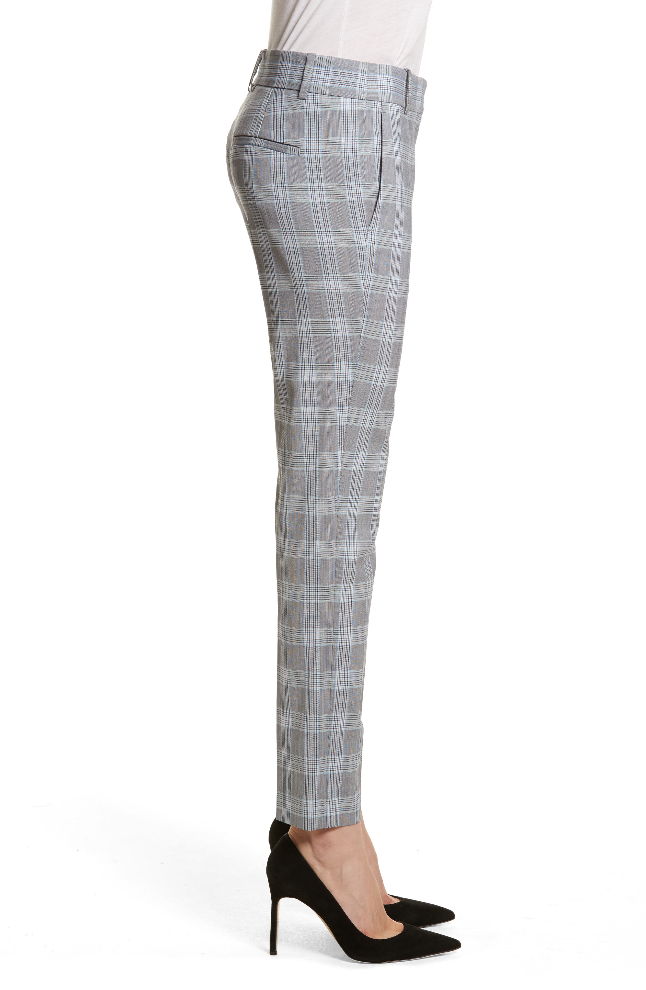 Maple Check 2 Straight Crop Trousers,                             Alternate thumbnail 3, color,                             White