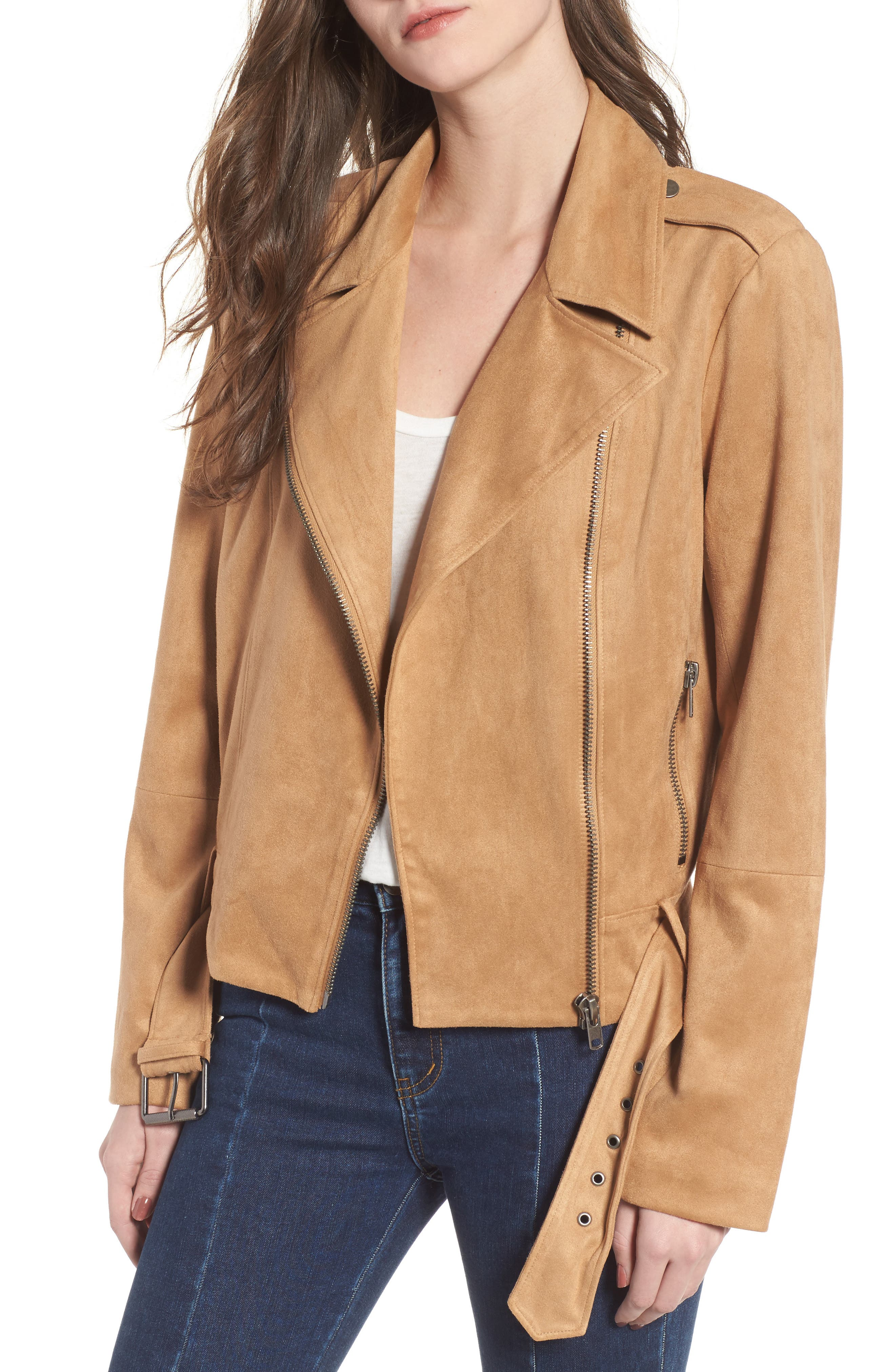 Nathan Faux Suede Jacket,                             Main thumbnail 1, color,                             Whiskey