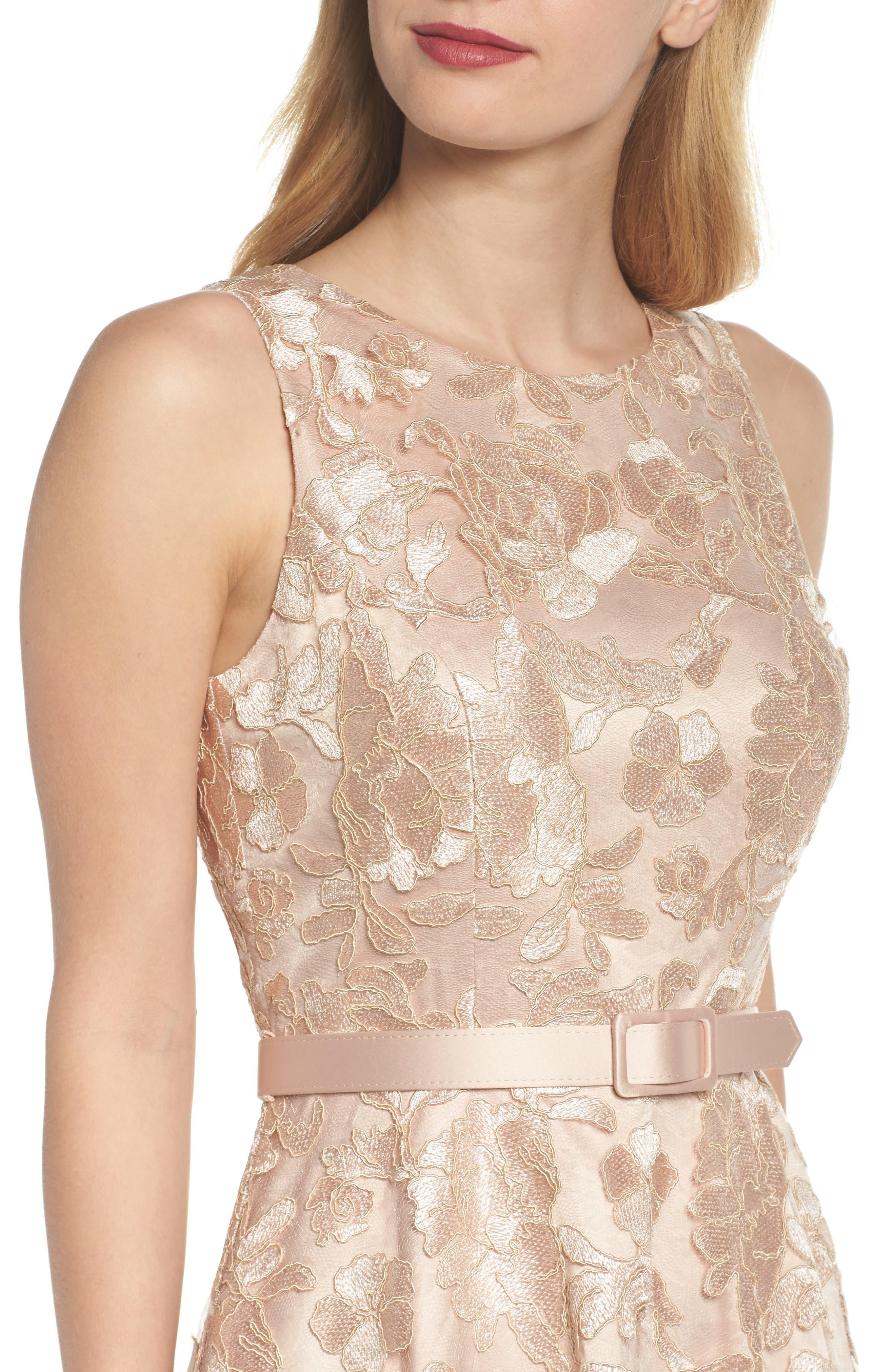Alternate Image 4  - Eliza J Belted Lace Fit & Flare Dress