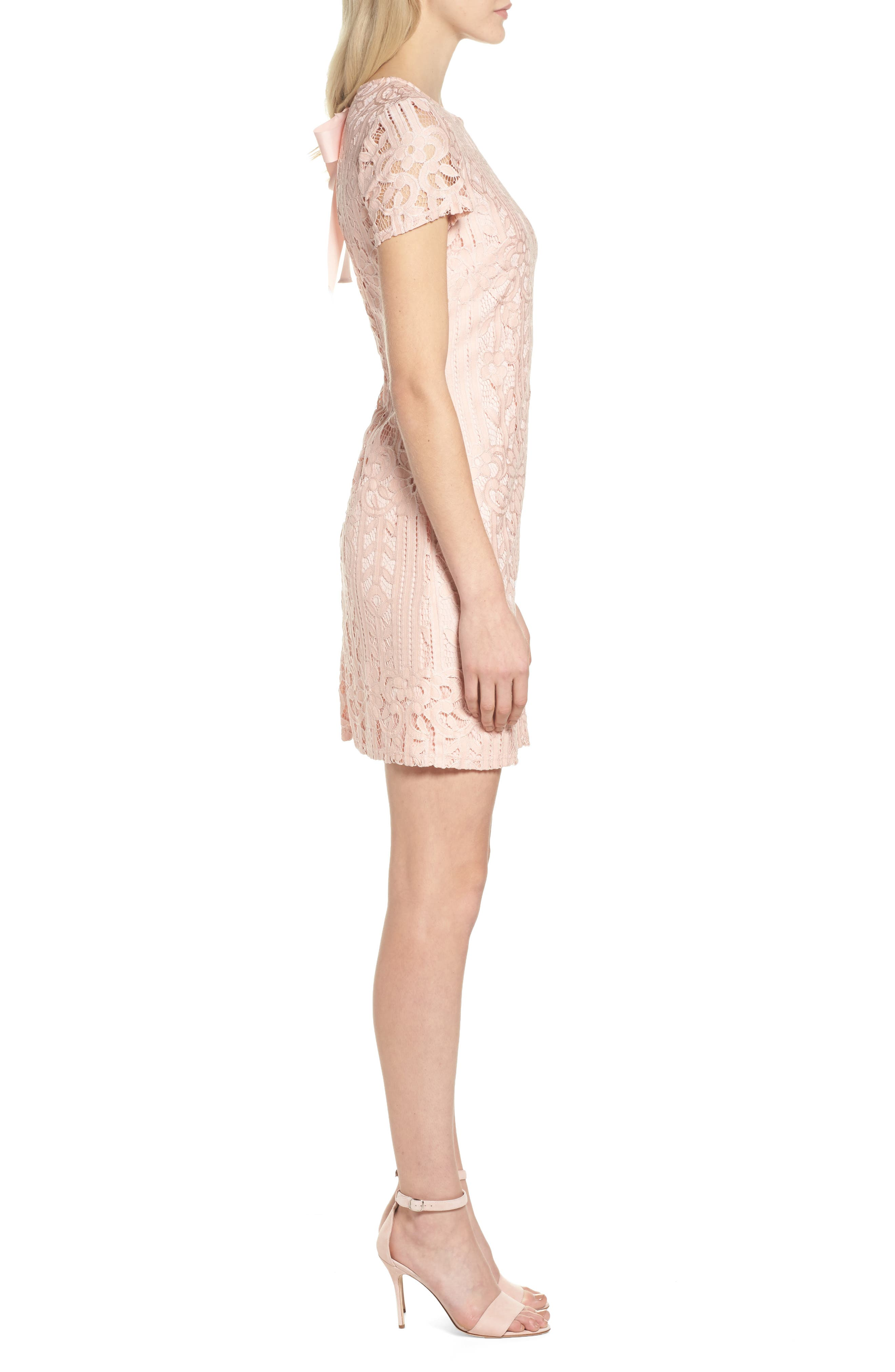 Lace Sheath Dress,                             Alternate thumbnail 3, color,                             Blush