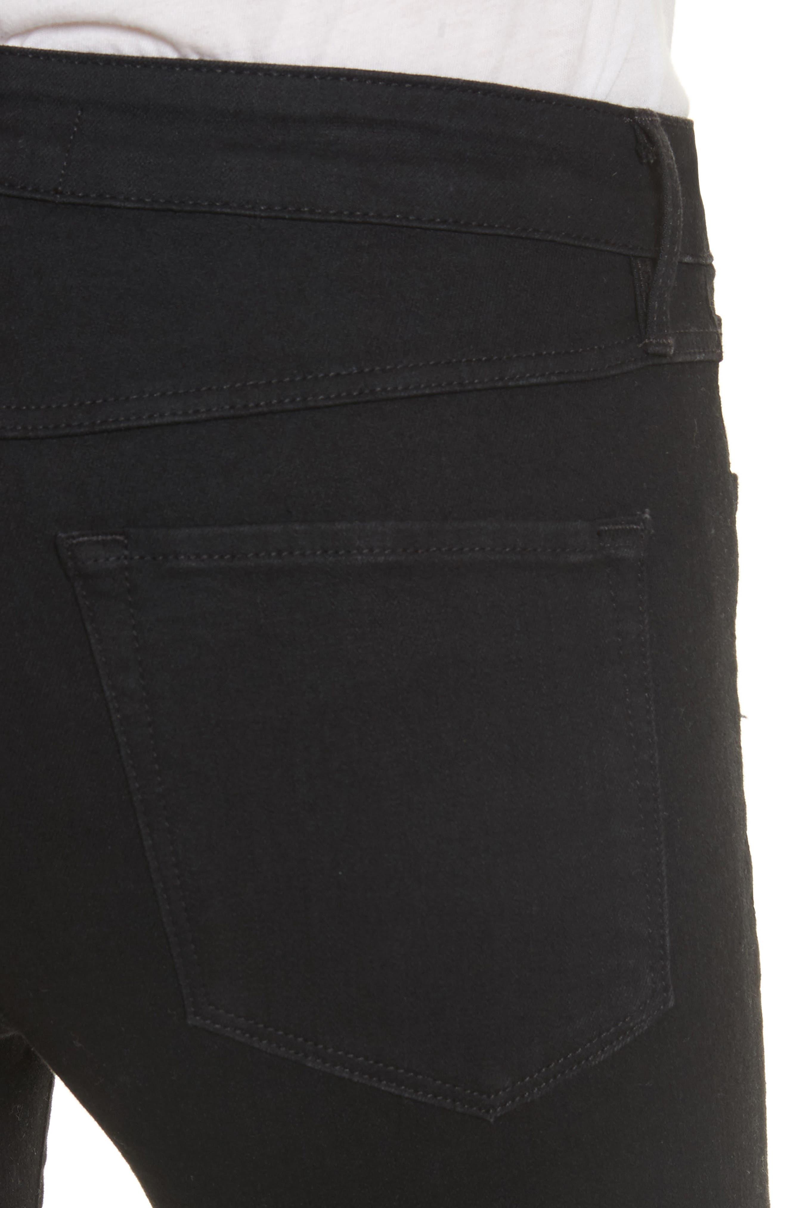 W2 Crop Skinny Jeans,                             Alternate thumbnail 4, color,                             Black Tear