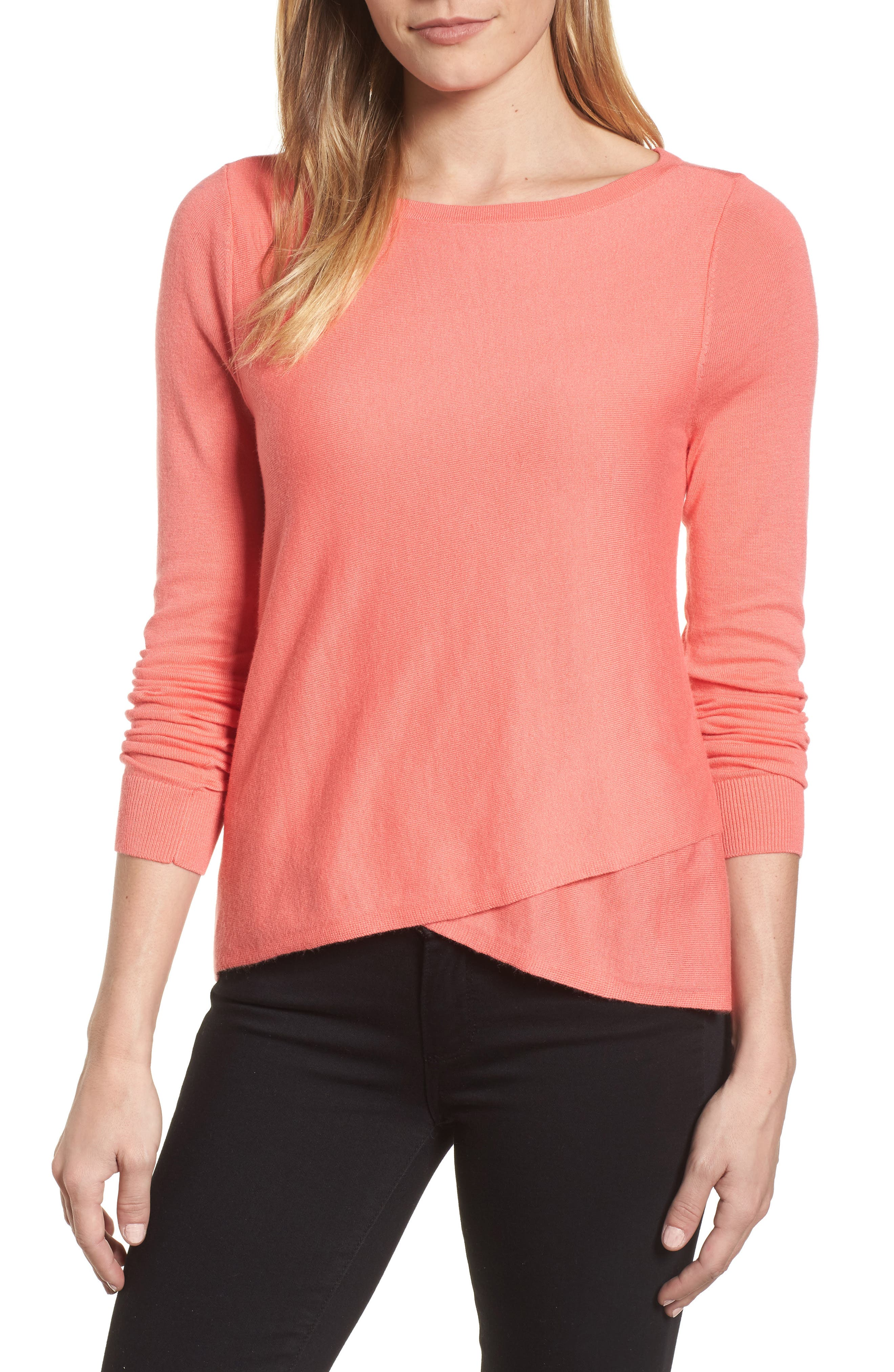 Halogen® Crossover Front Knit Sweater (Regular & Petite)