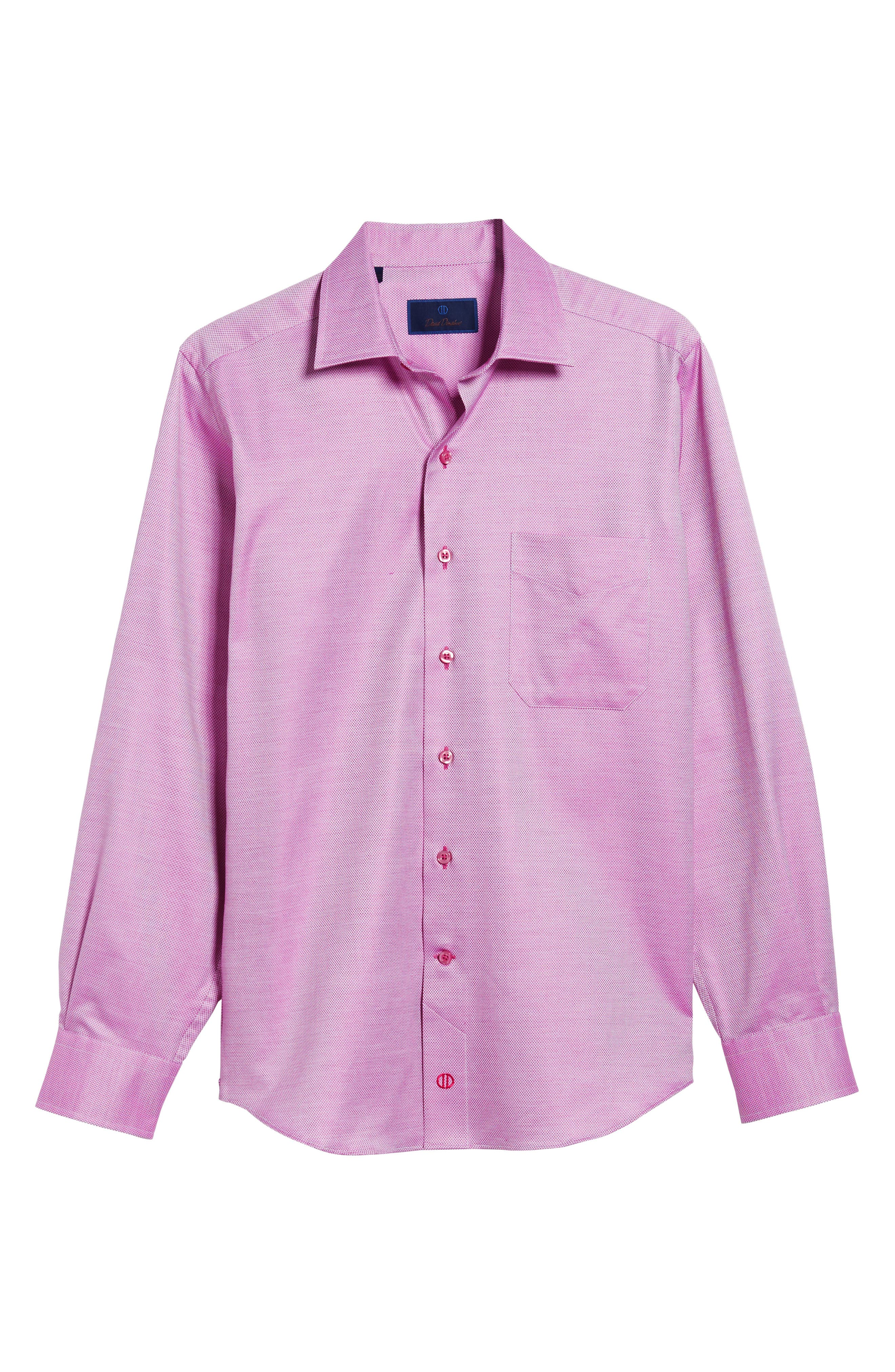 Solid Sport Shirt,                             Alternate thumbnail 6, color,                             Berry