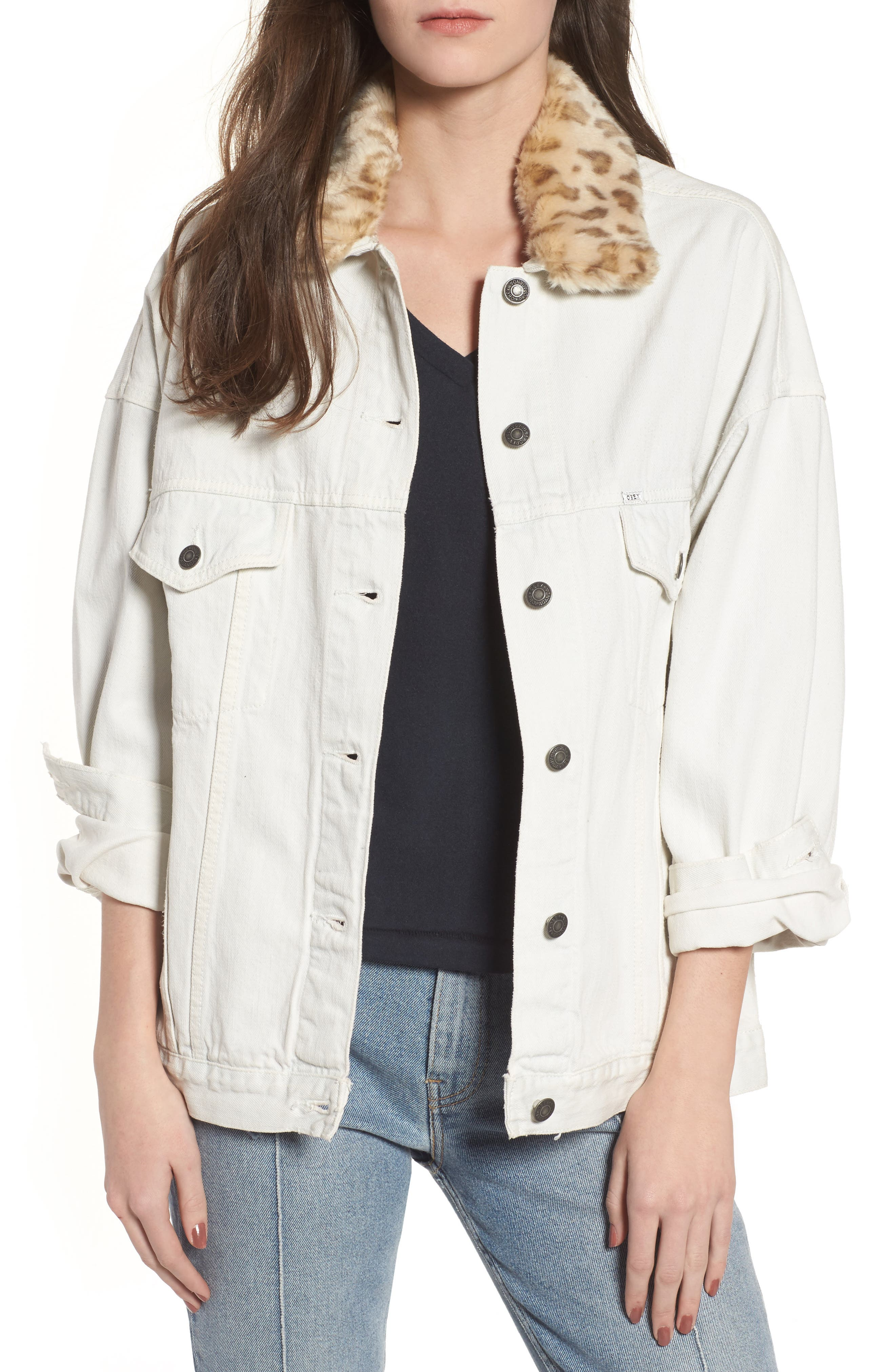 Obey Wily Rider Jacket with Removable Faux Fur Collar