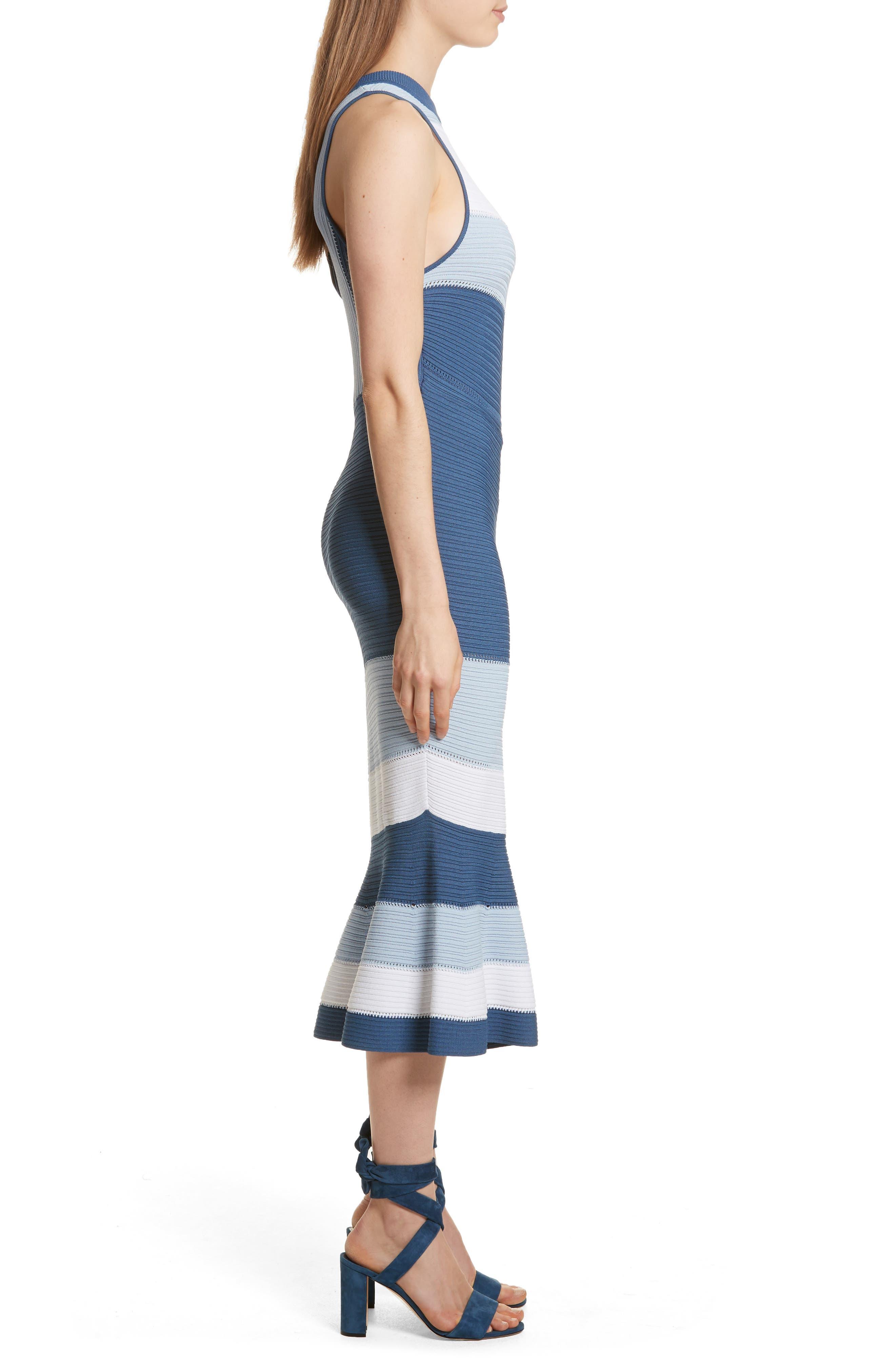 Linked Asymmetrical Dress,                             Alternate thumbnail 3, color,                             Blue Combo