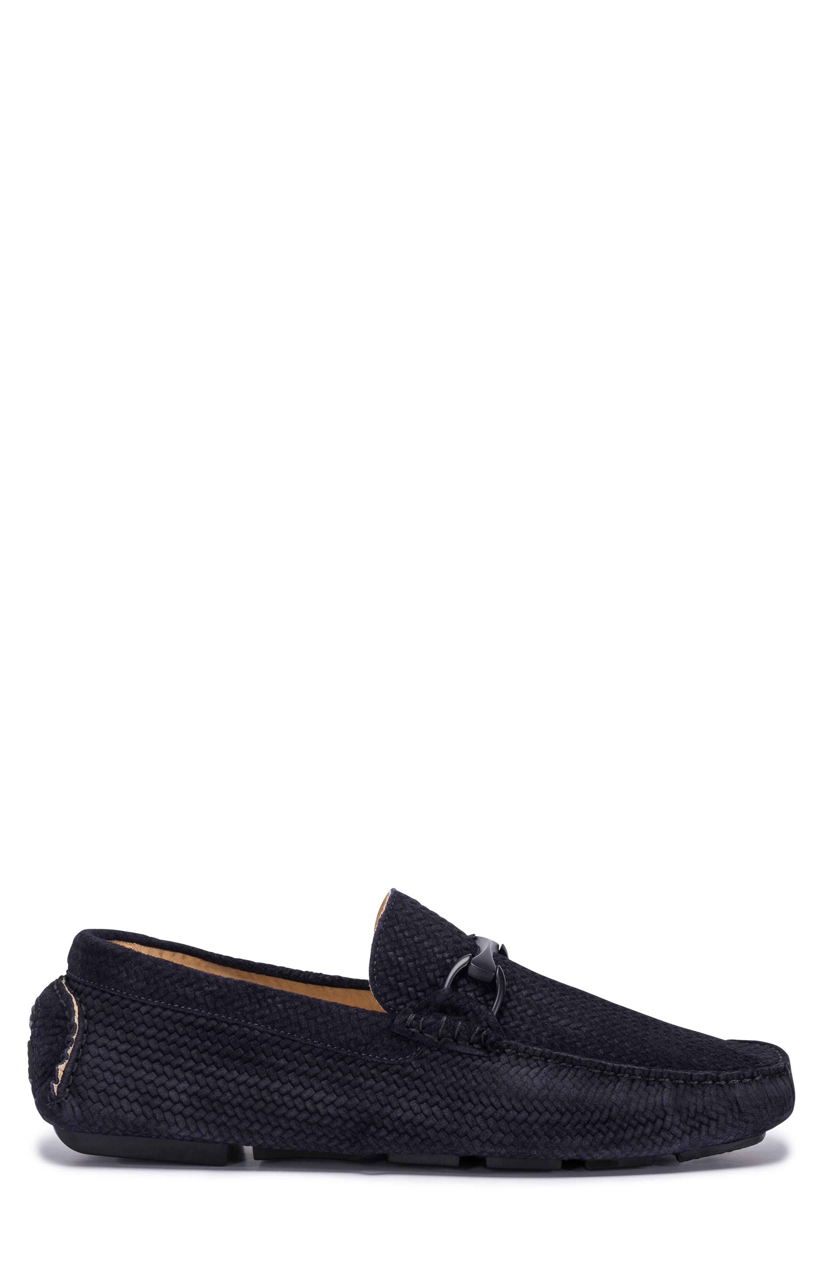 Amalfi Woven Bit Driving Loafer,                             Alternate thumbnail 3, color,                             Blue Suede