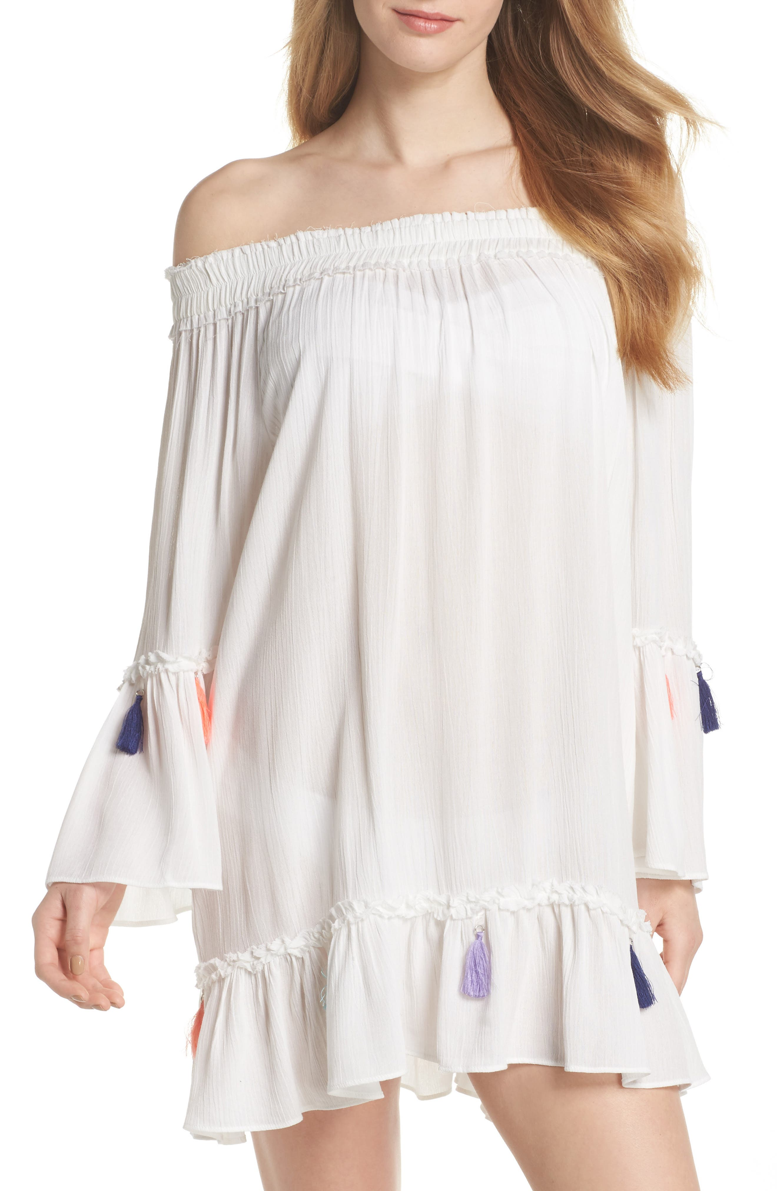 Tassel Cover-Up,                         Main,                         color, White