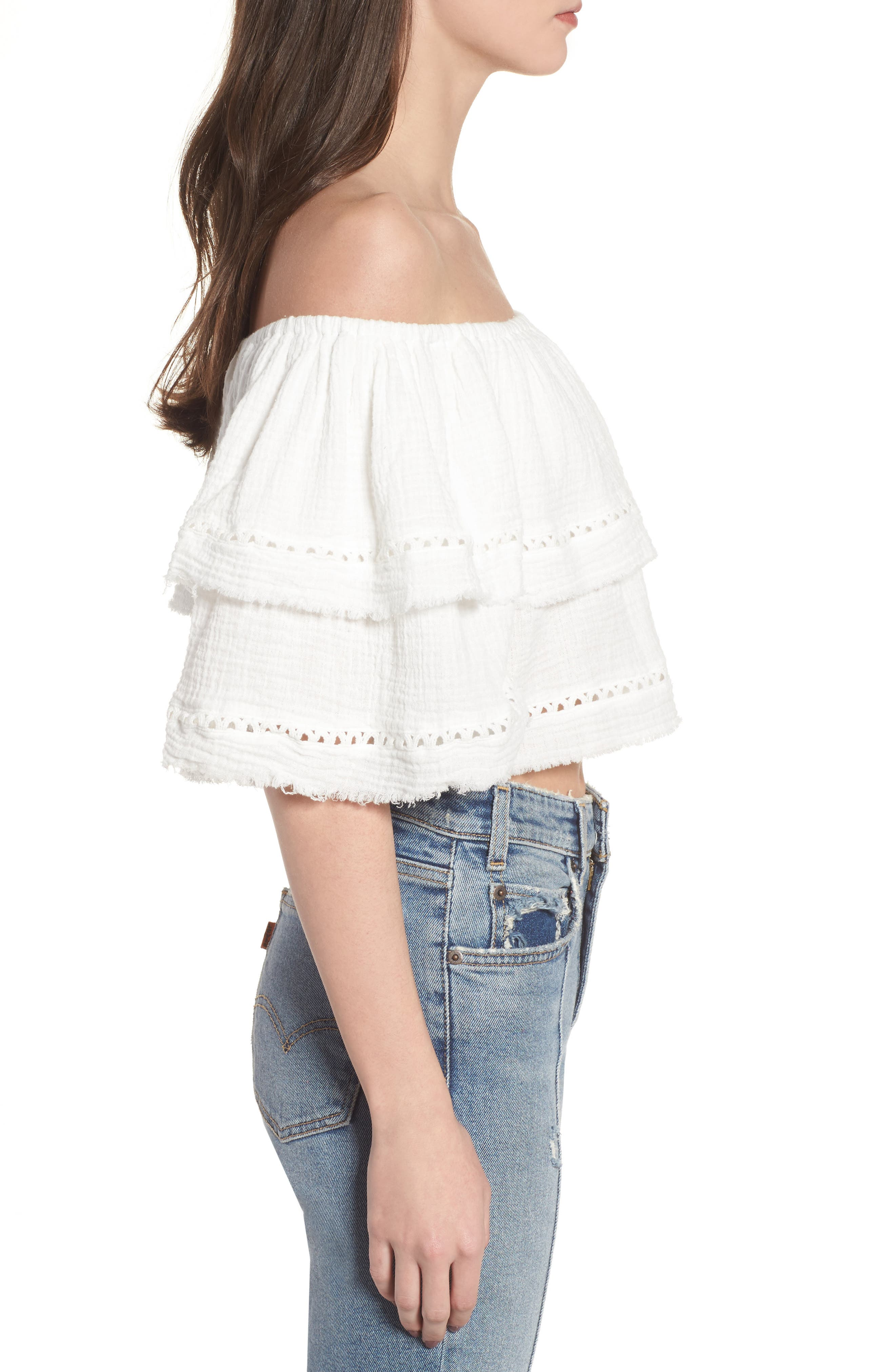 Sliding Currents Off the Shoulder Ruffle Top,                             Alternate thumbnail 4, color,                             Off White