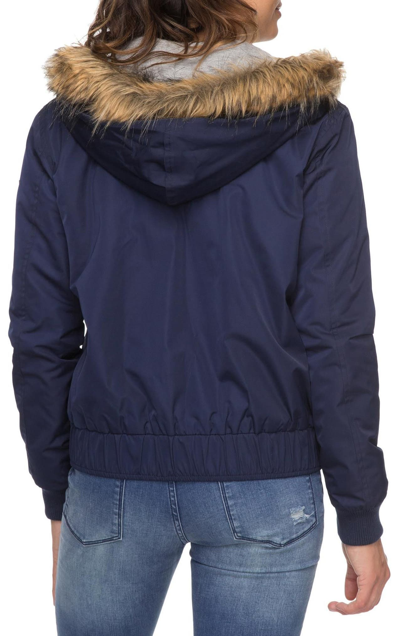 Oh Reely Faux Fur Bomber Jacket,                             Alternate thumbnail 4, color,                             Dress Blues