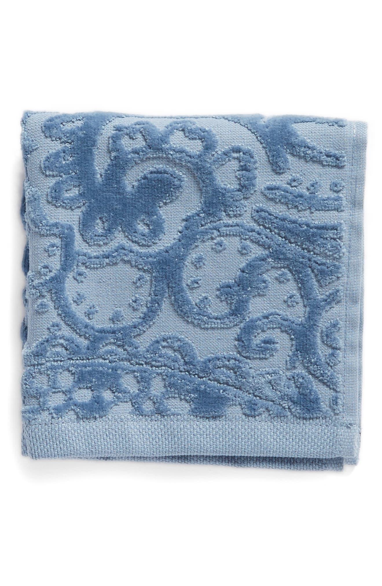Elisa Turkish Cotton Washcloth,                             Main thumbnail 1, color,                             Blue Chambray