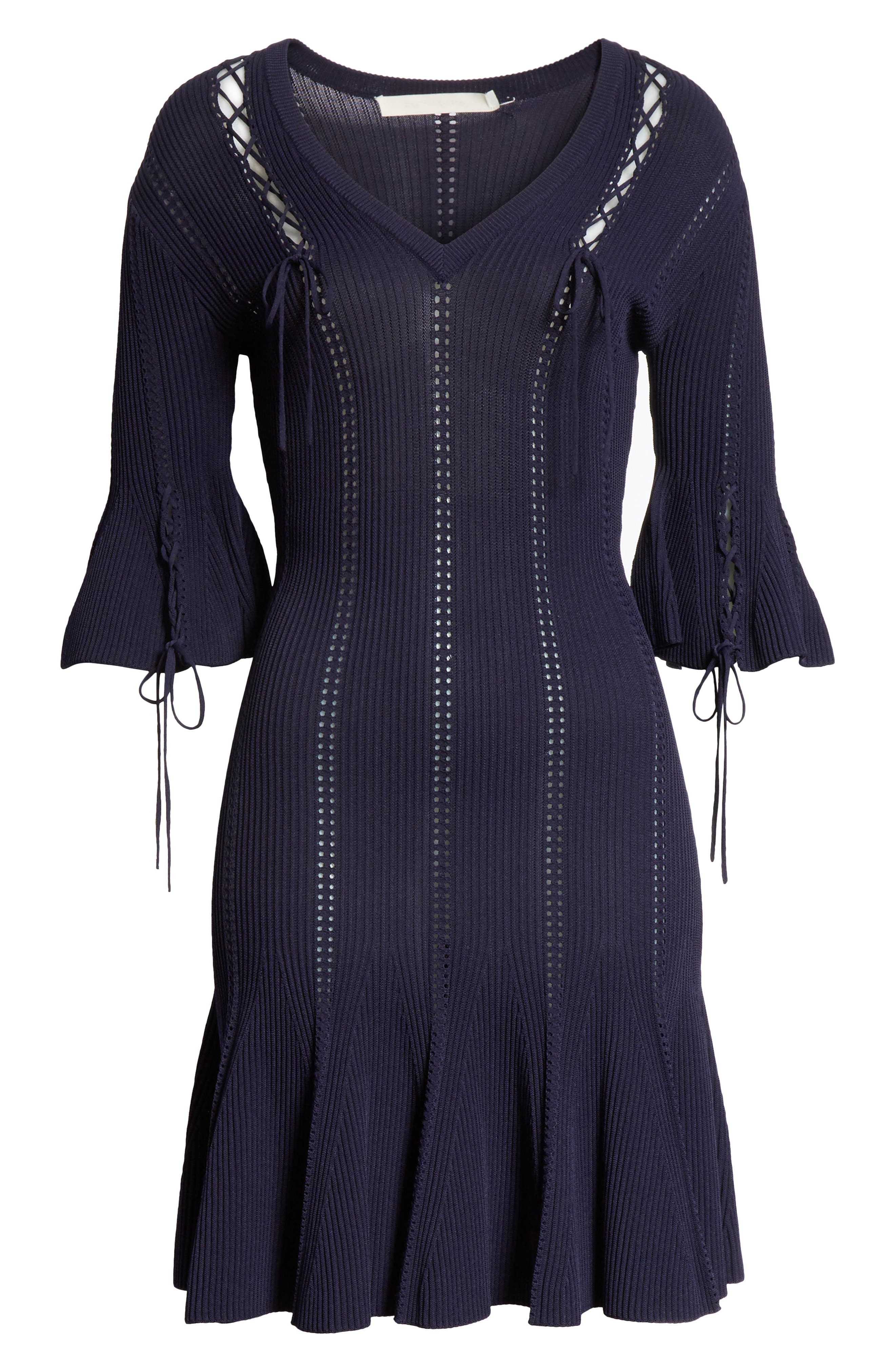 Lace-Up Detail Dress,                             Alternate thumbnail 6, color,                             Midnight