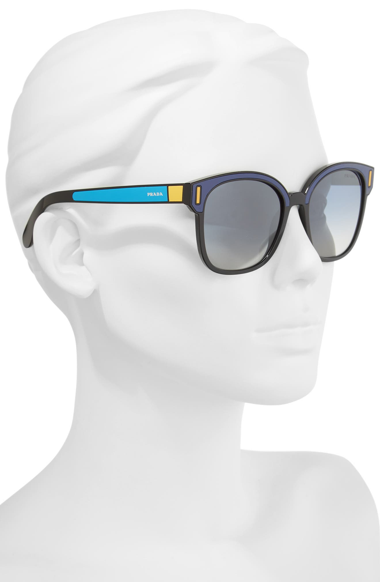 53mm Sunglasses,                             Alternate thumbnail 2, color,                             Black/ Blue