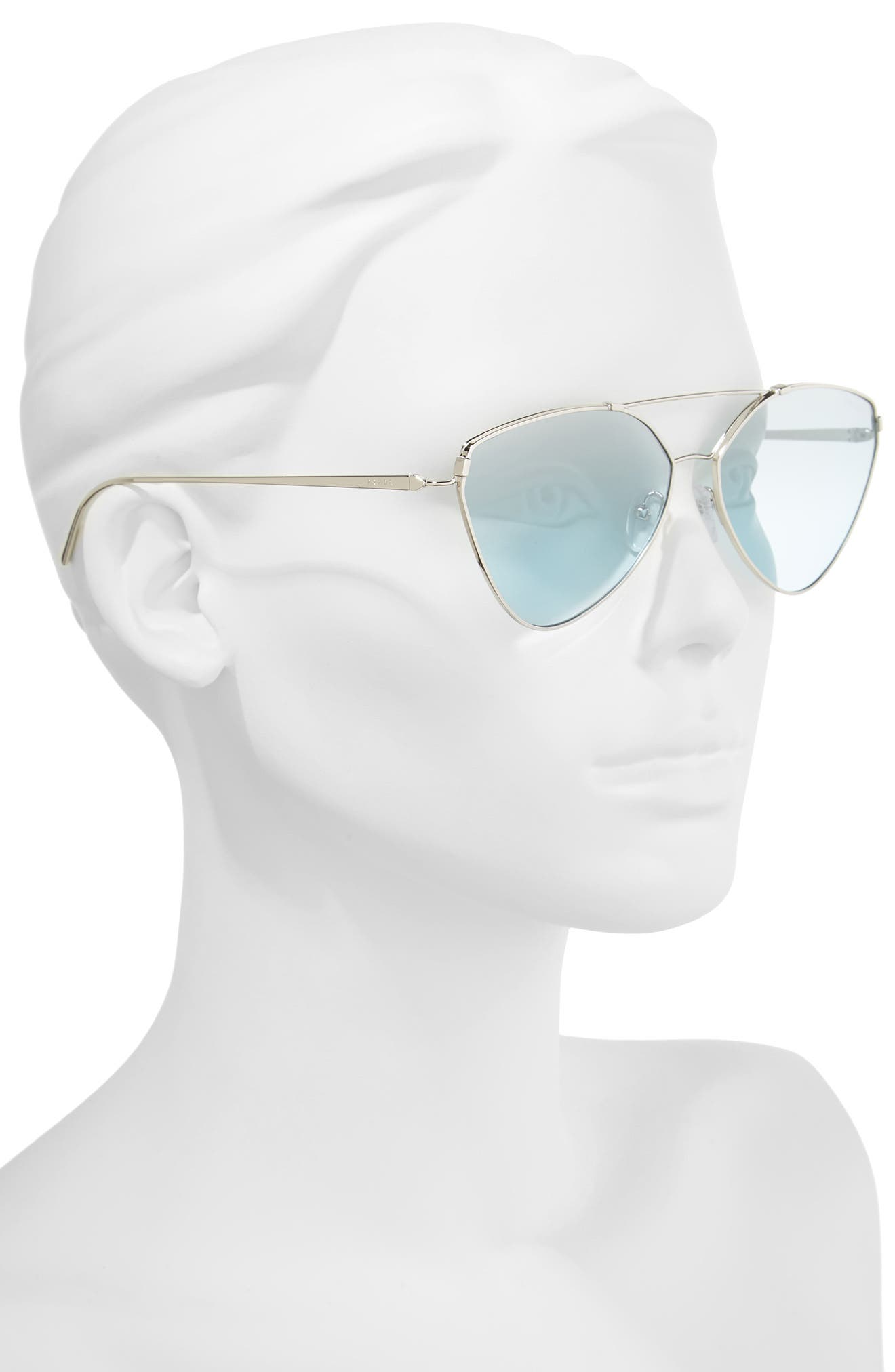 62mm Oversize Aviator Sunglasses,                             Alternate thumbnail 2, color,                             Silver