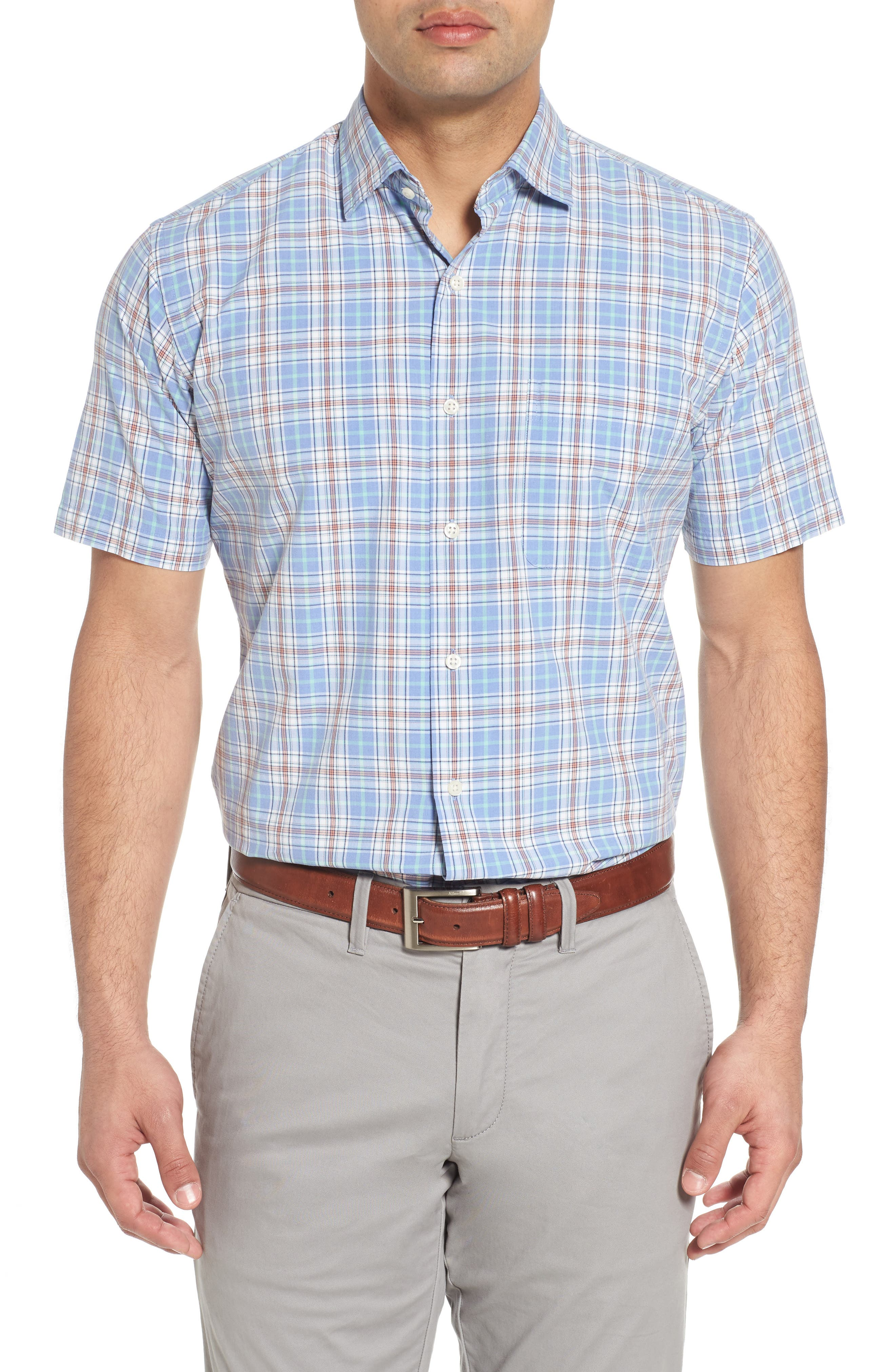 Rockport Plaid Sport Shirt,                             Main thumbnail 1, color,                             Bonnet