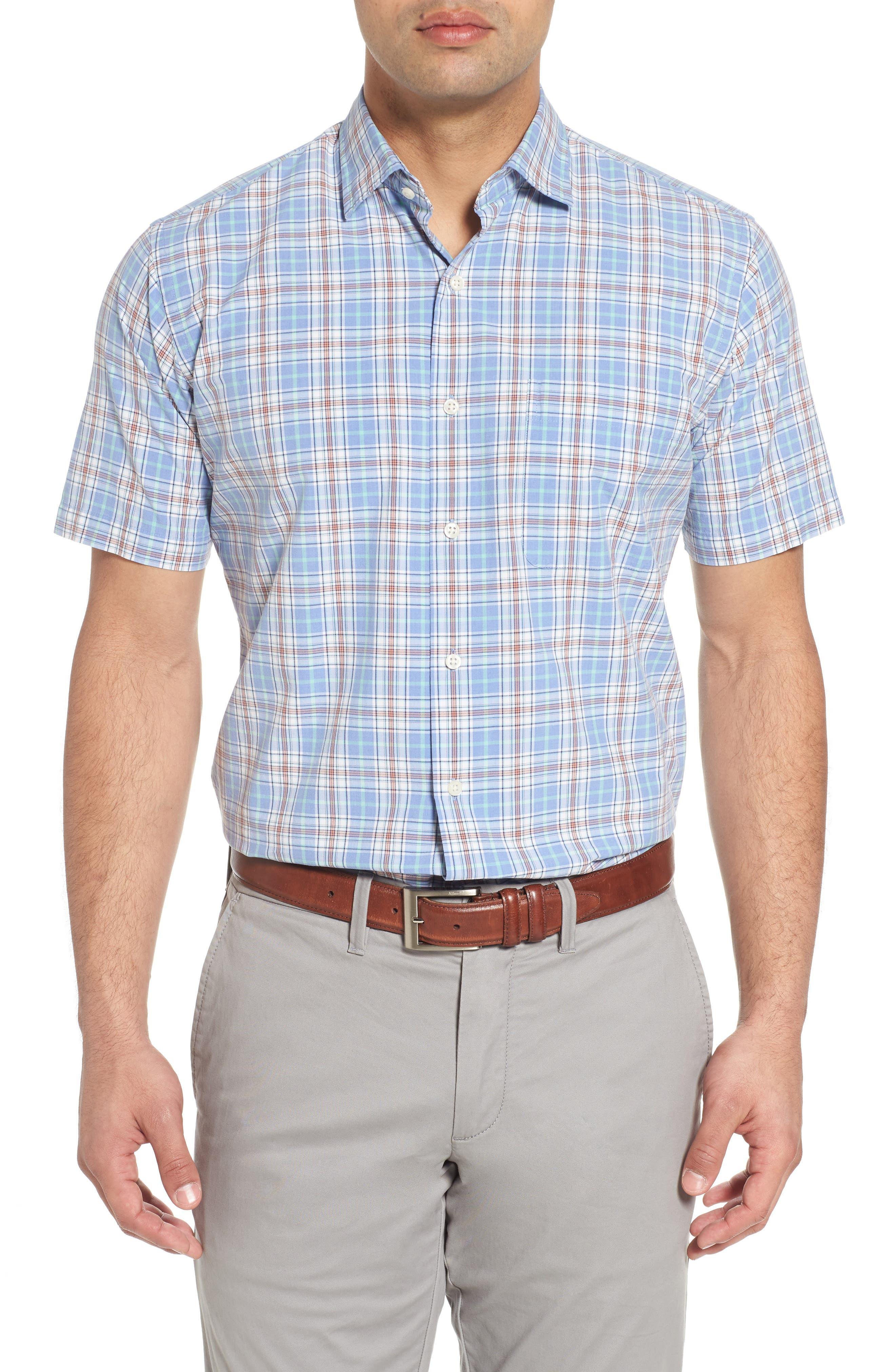 Rockport Plaid Sport Shirt,                         Main,                         color, Bonnet