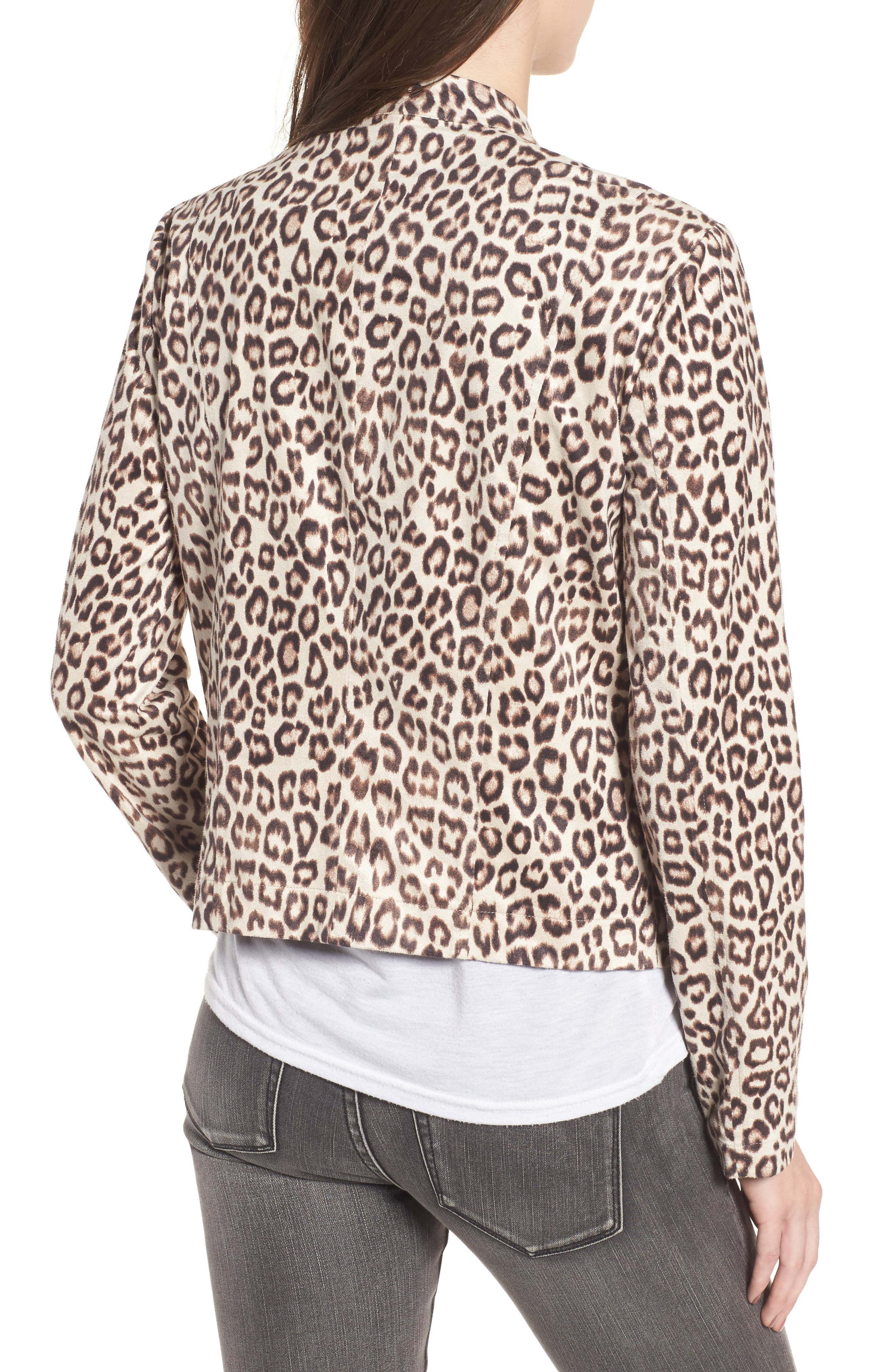 Aleah Leopard Print Faux Suede Drape Front Jacket,                             Alternate thumbnail 2, color,                             Light Tan