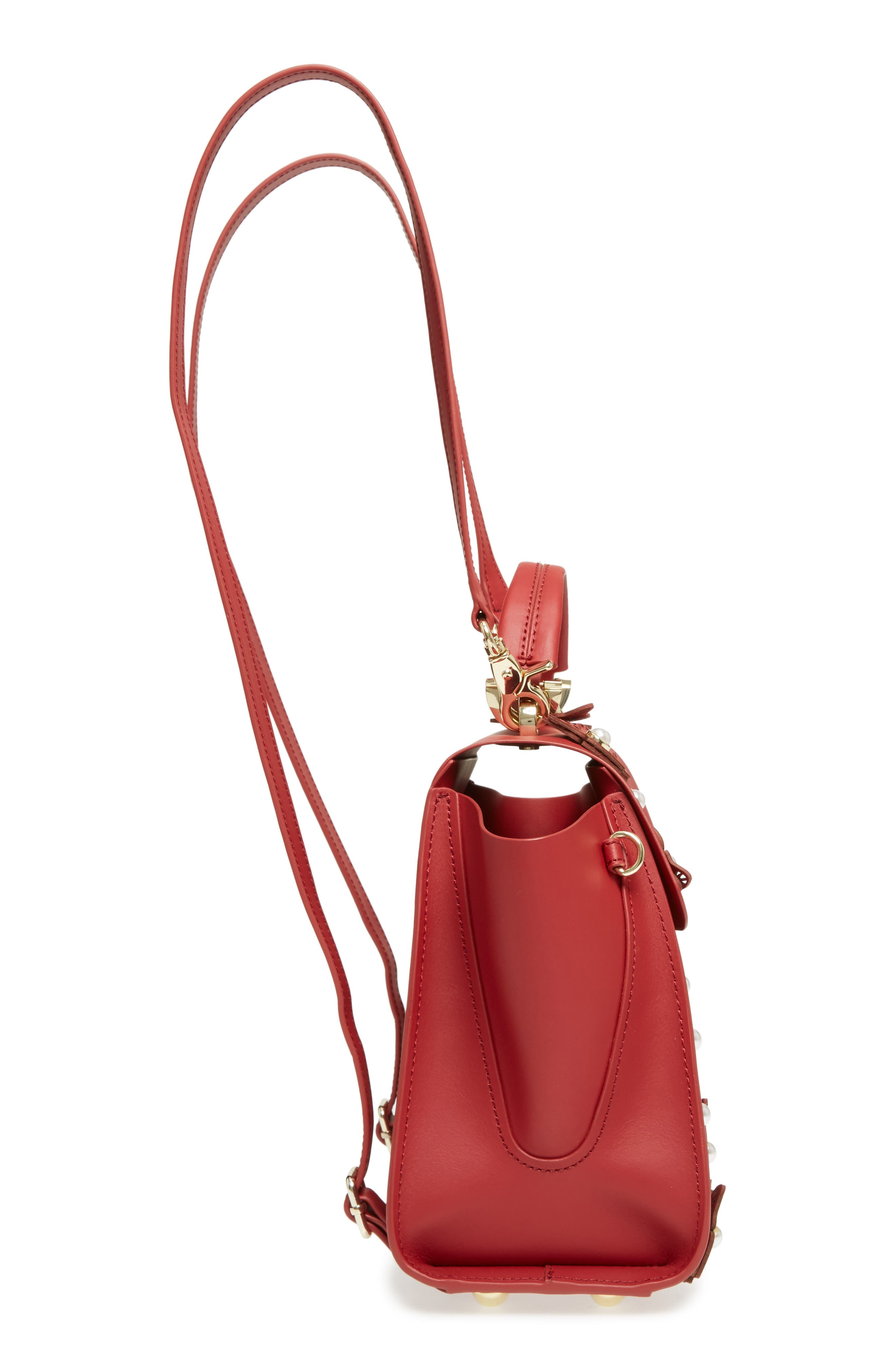 Eartha Iconic Convertible Leather Backpack,                             Alternate thumbnail 5, color,                             Red