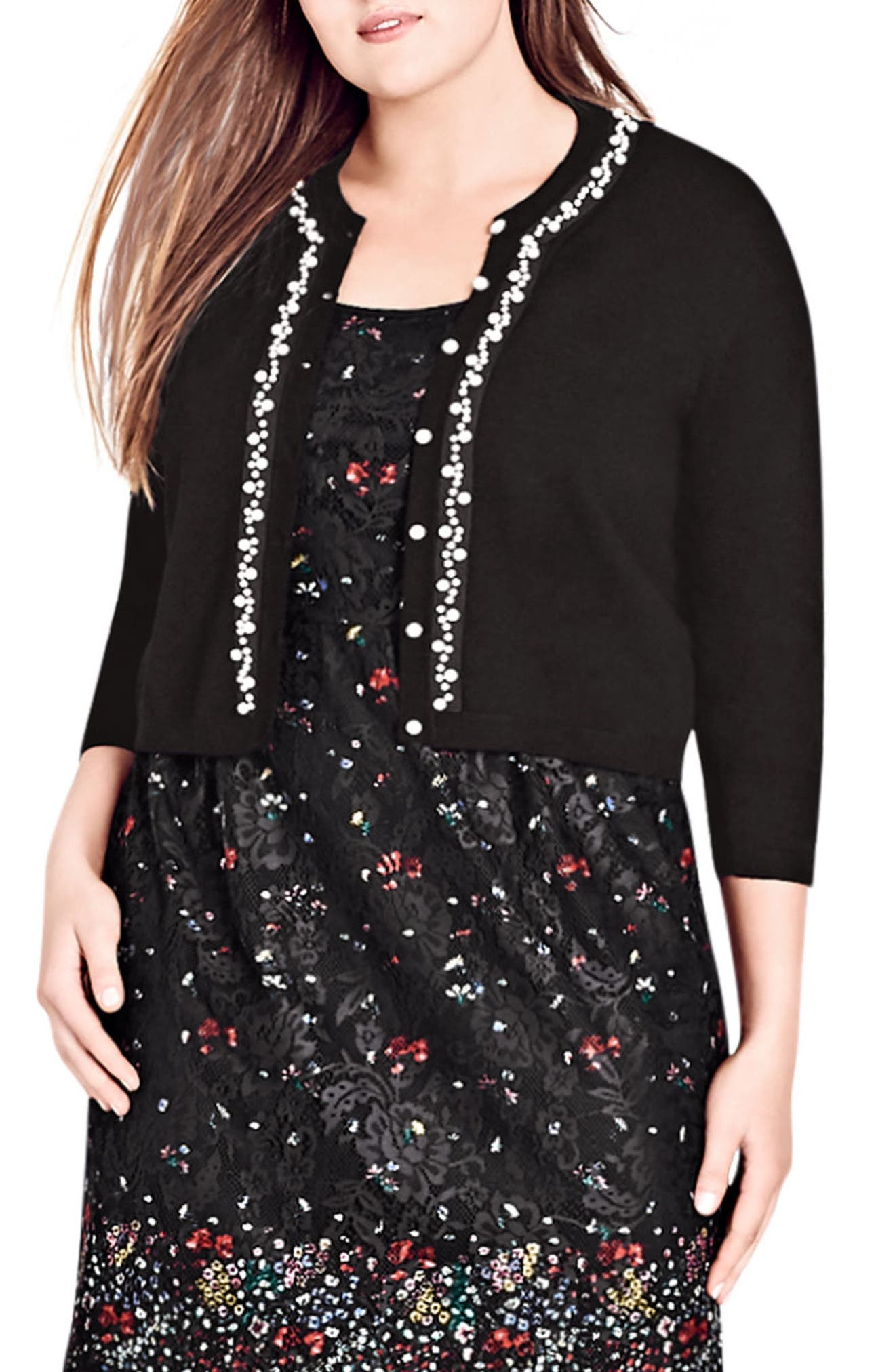 Alternate Image 1 Selected - City Chic Imitation Pearl Trim Cardigan (Plus Size)