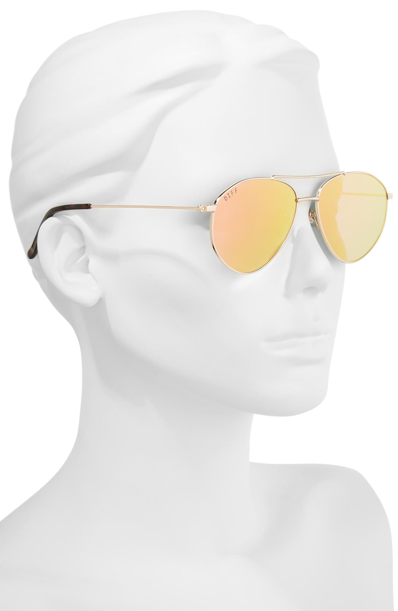 Scout 53mm Aviator Sunglasses,                             Alternate thumbnail 2, color,                             Gold/ Pink