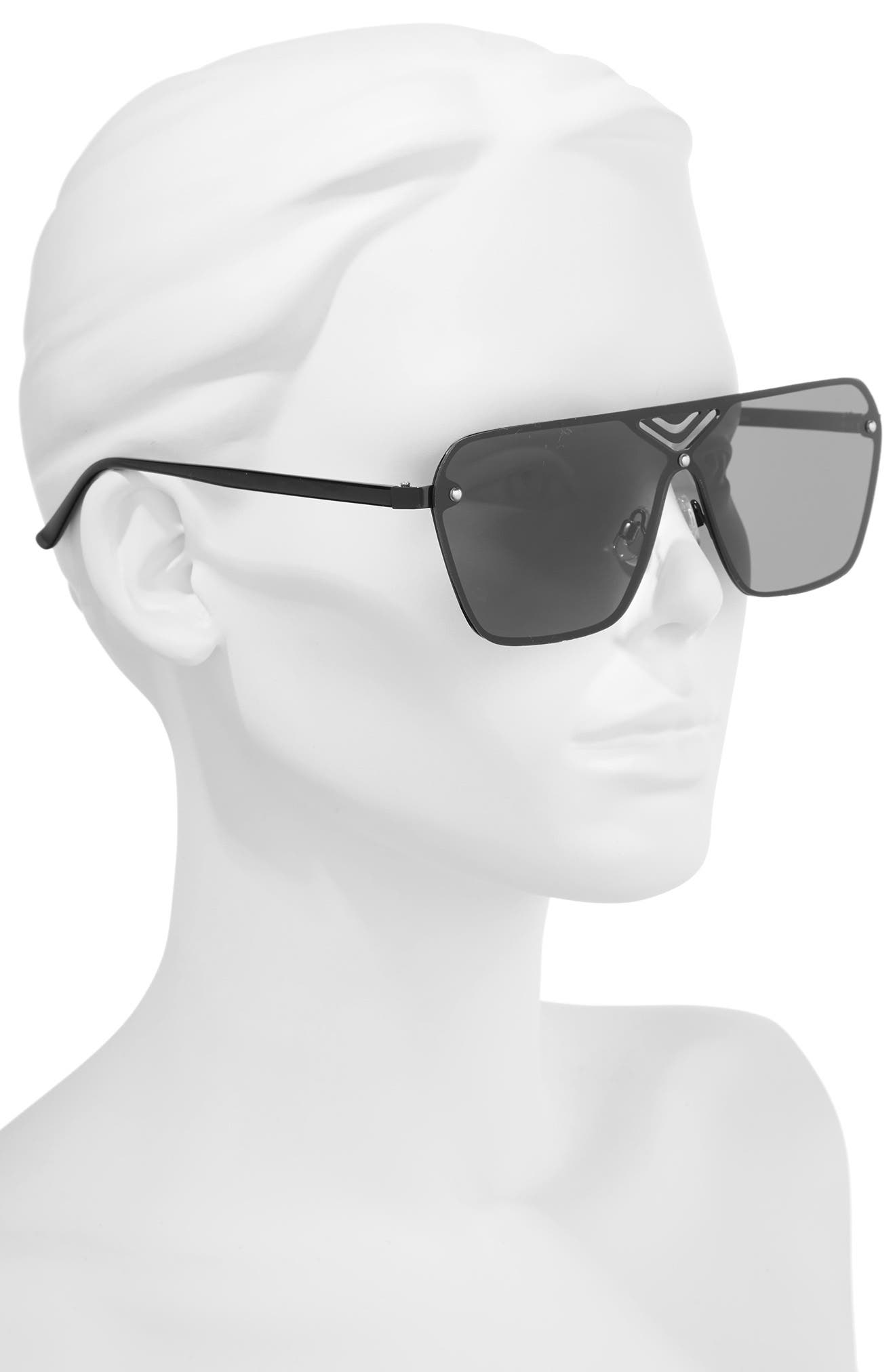 70mm Cutout Shield Sunglasses,                             Alternate thumbnail 2, color,                             Black