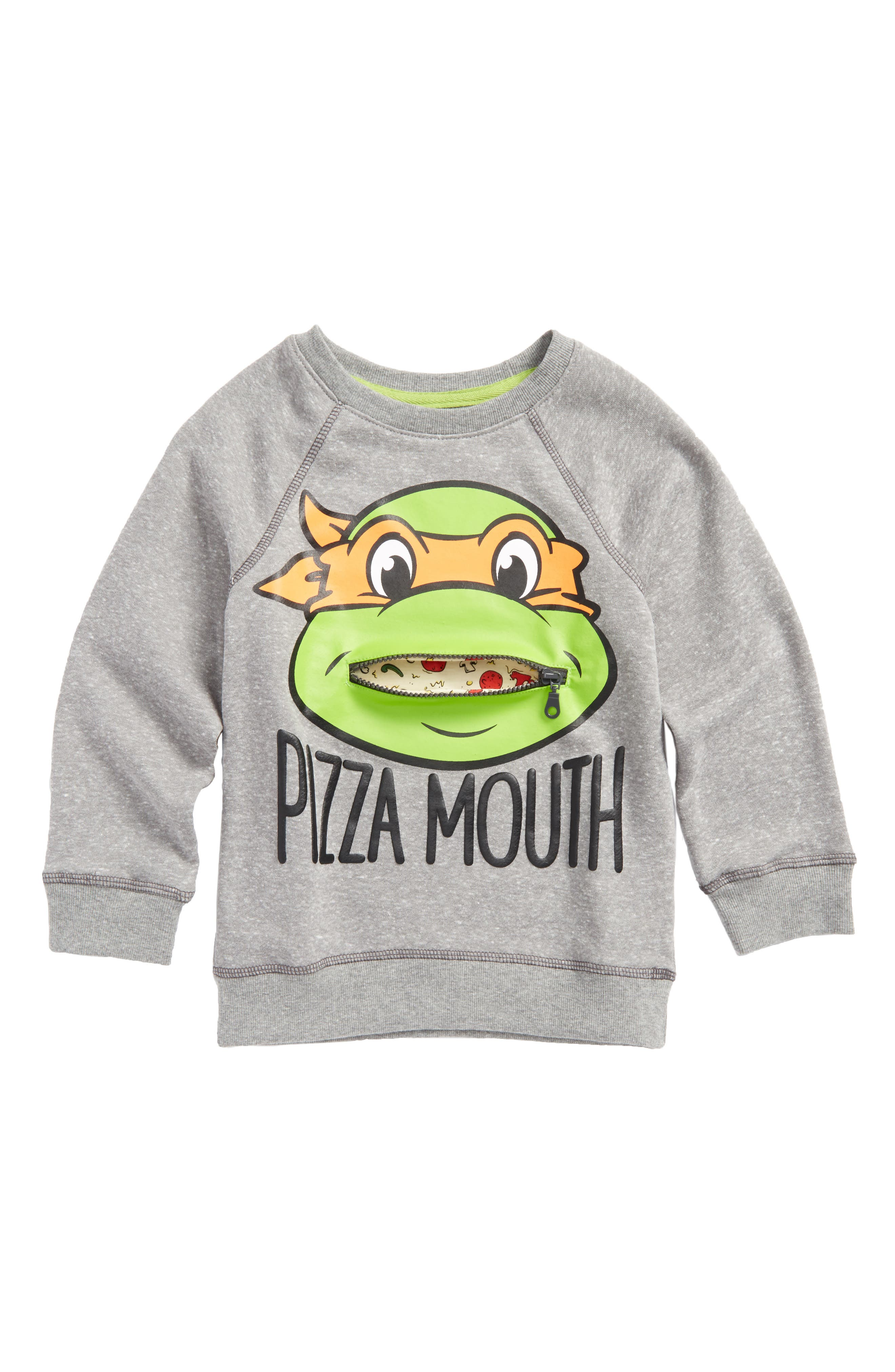 TMNT - Zipper Mouth Graphic Sweatshirt,                             Main thumbnail 1, color,                             Heather Grey