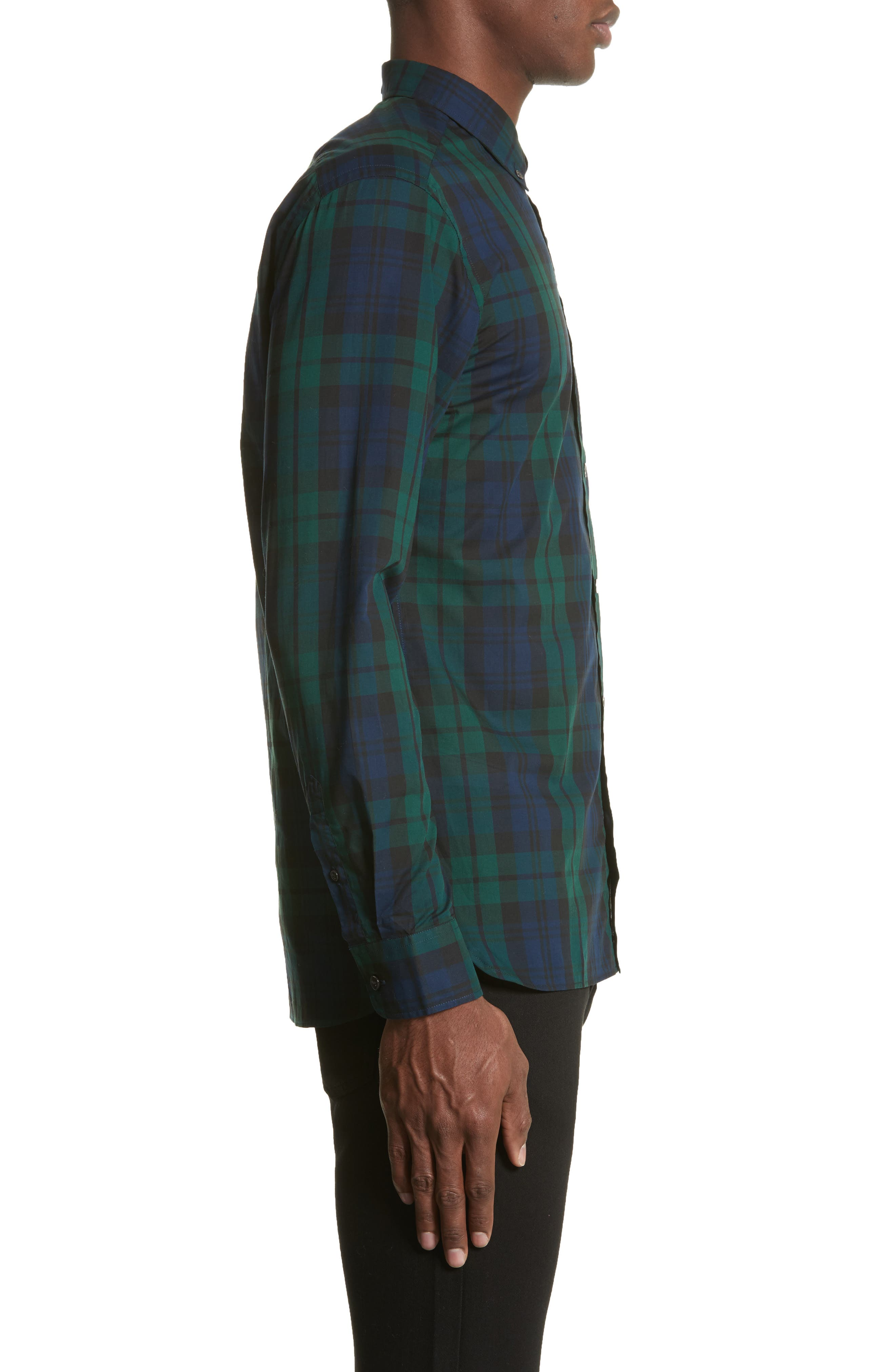 Salwick Tartan Plaid Sport Shirt,                             Alternate thumbnail 3, color,                             Navy