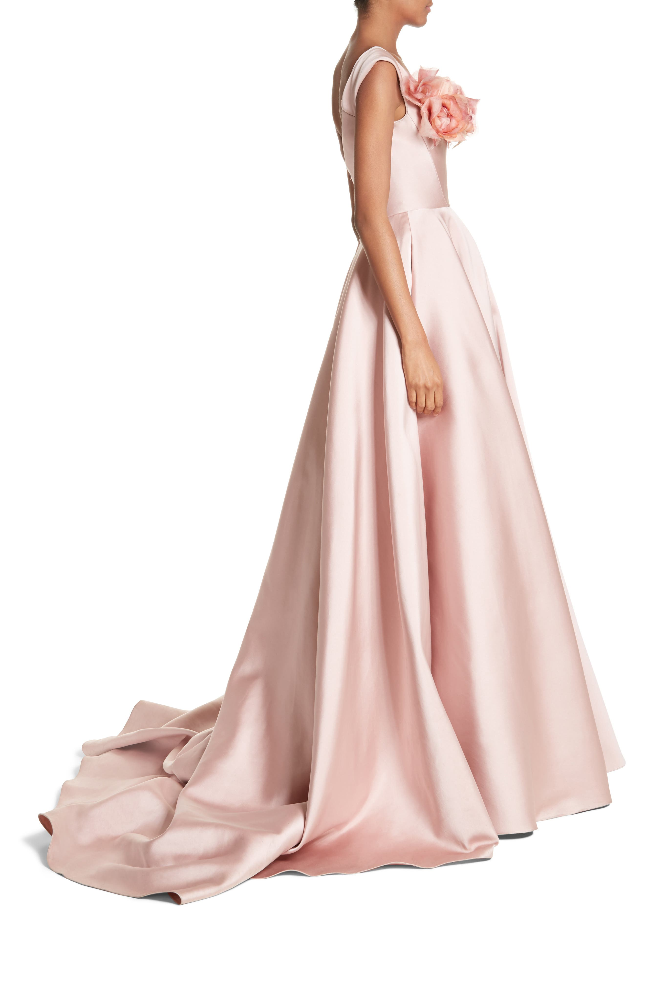 Alternate Image 3  - Marchesa Corsage Off the Shoulder Satin Ballgown