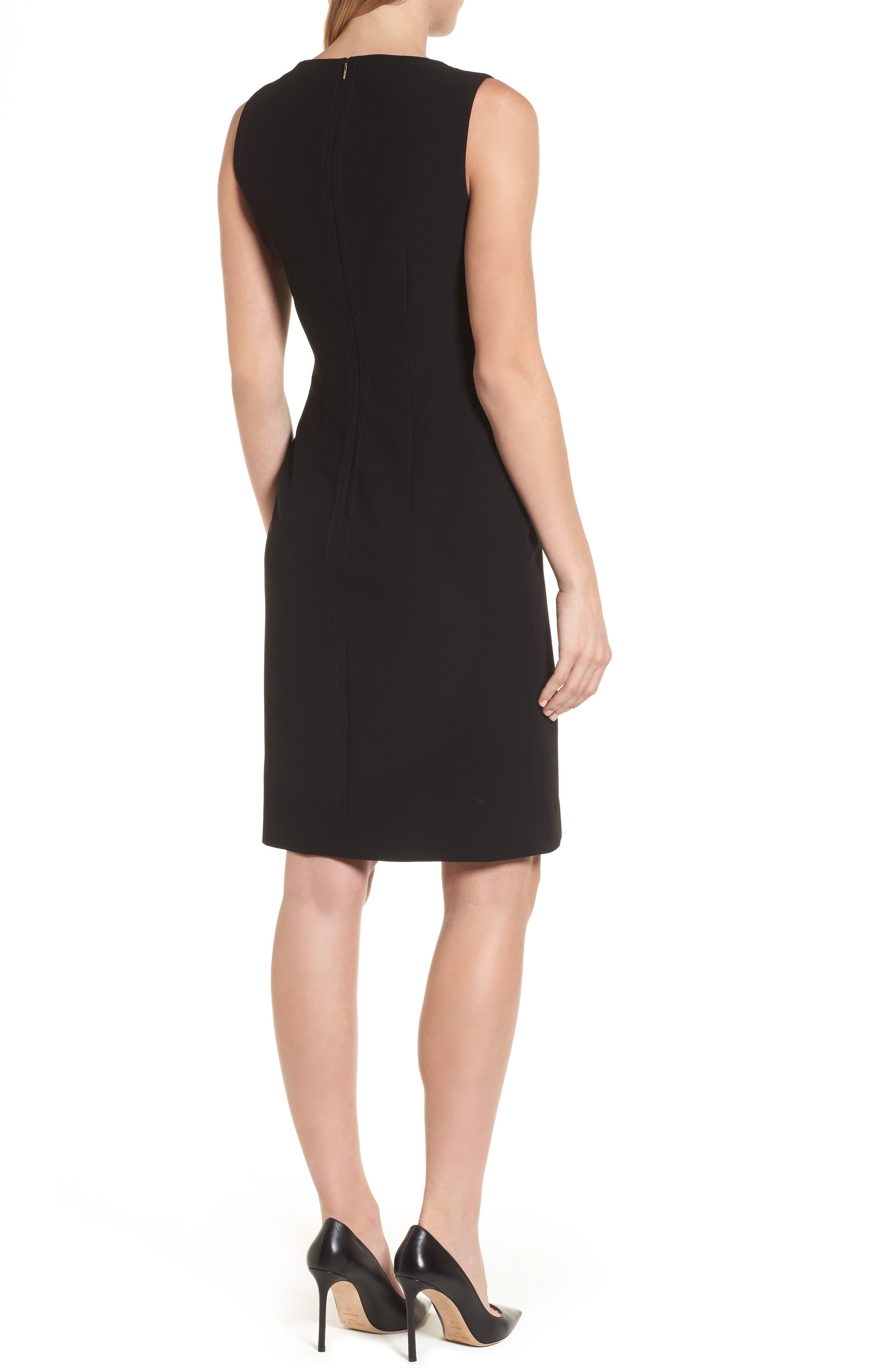 Dilamena Crepe Sheath Dress,                             Alternate thumbnail 2, color,                             Black