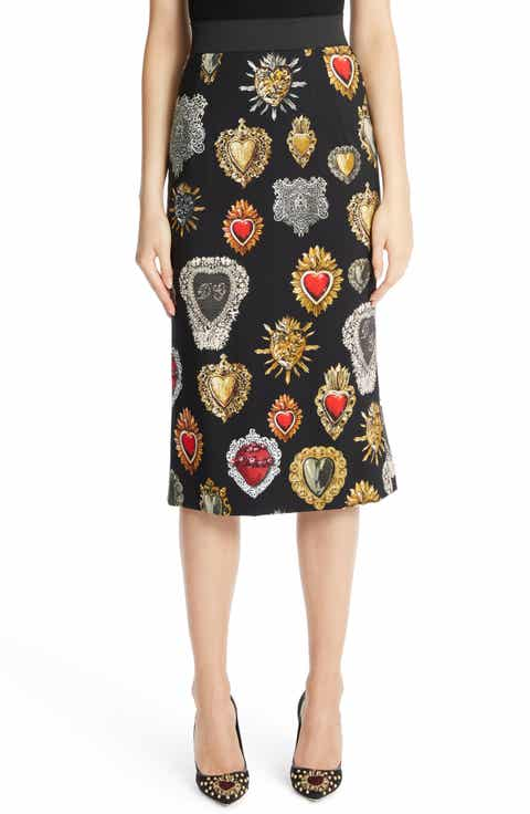 Dolce&Gabbana Sacred Heart Cady Pencil Skirt